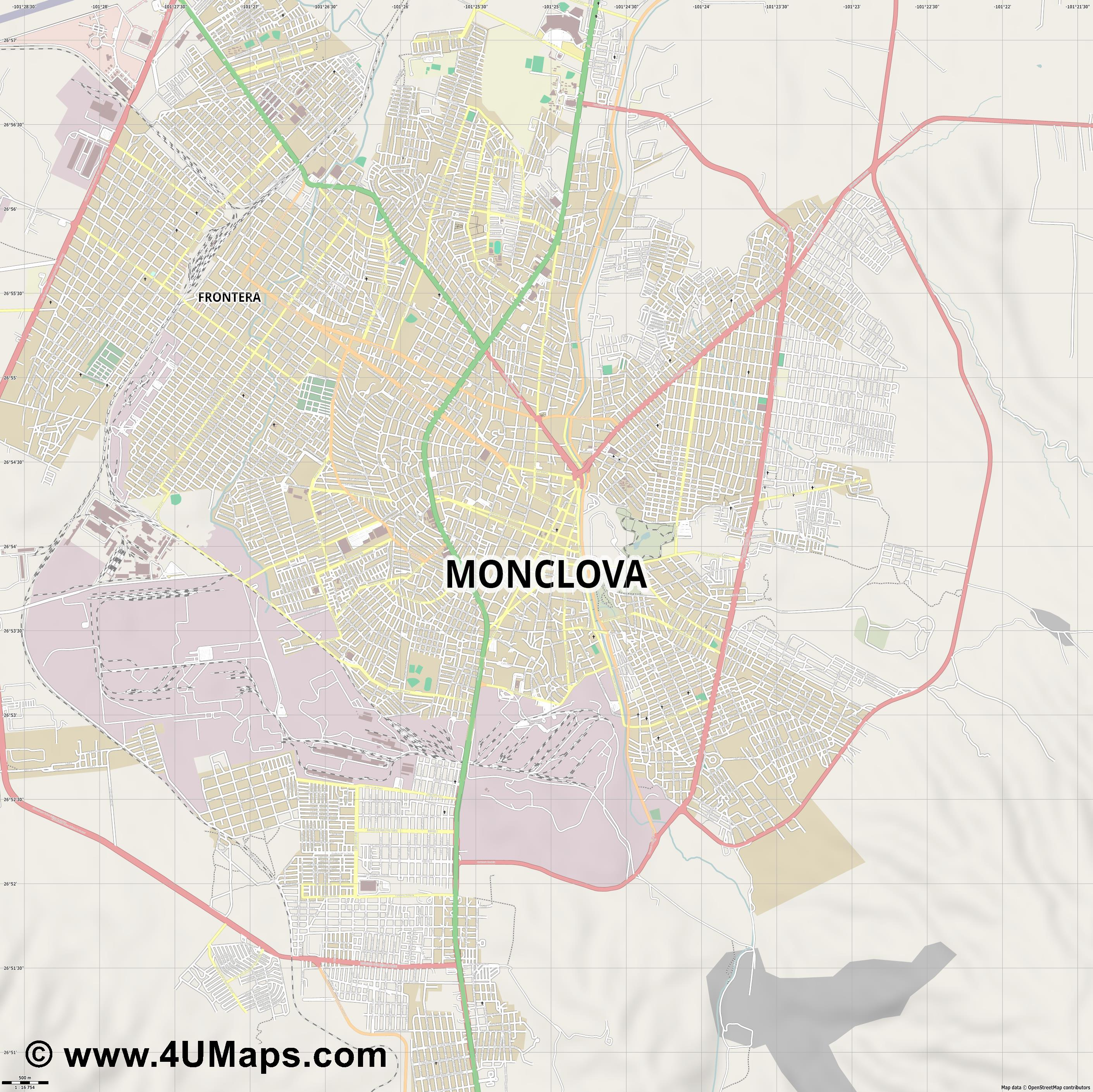 Monclova  jpg ultra high detail preview vector city map