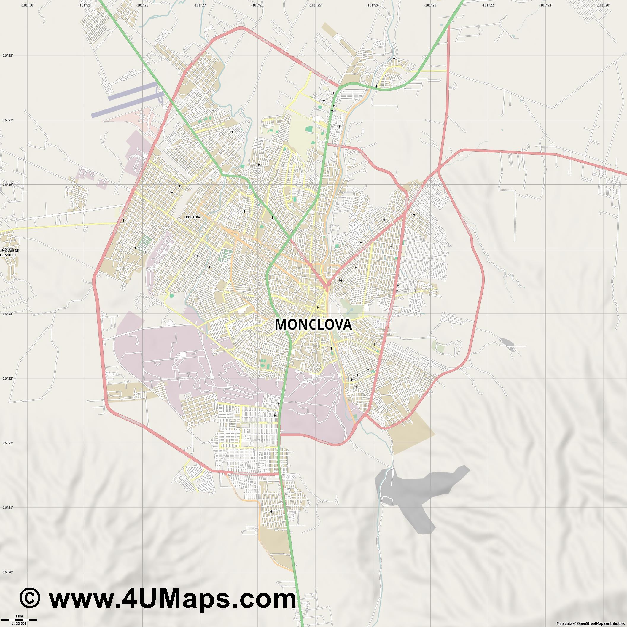 Monclova  jpg high detail, large area preview vector city map