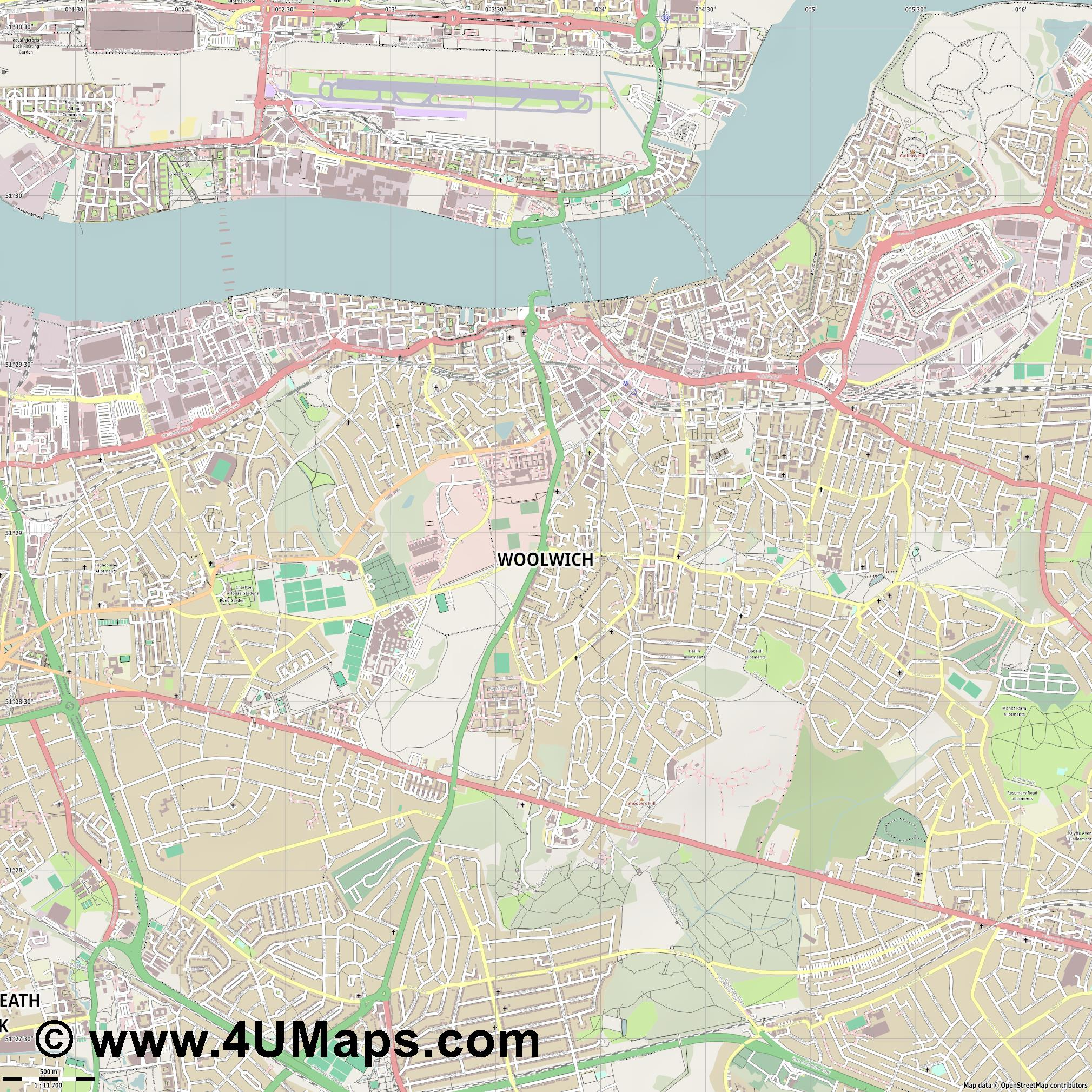 Woolwich  jpg ultra high detail preview vector city map