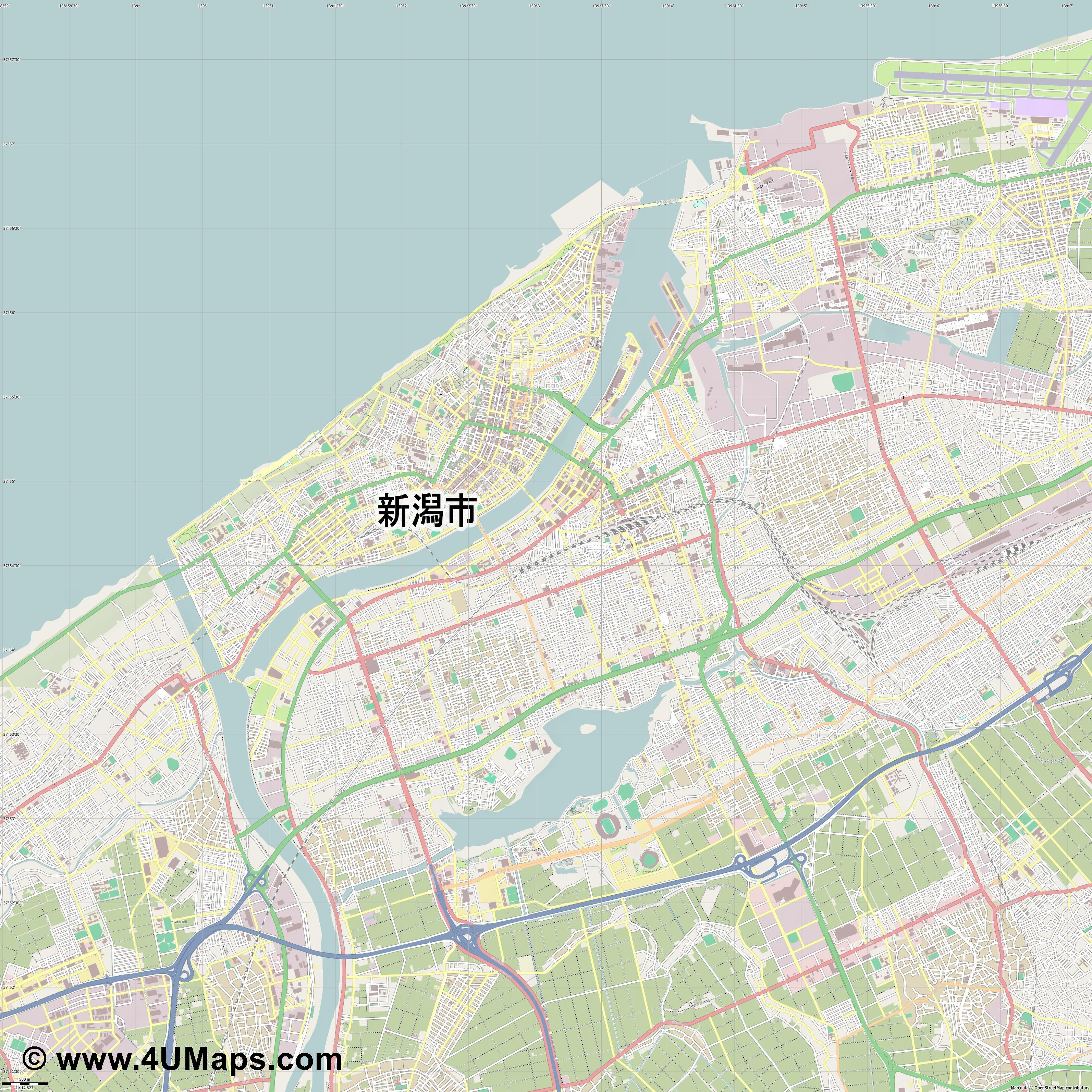 中央区  Chuo Ward  Niigata  jpg ultra high detail preview vector city map