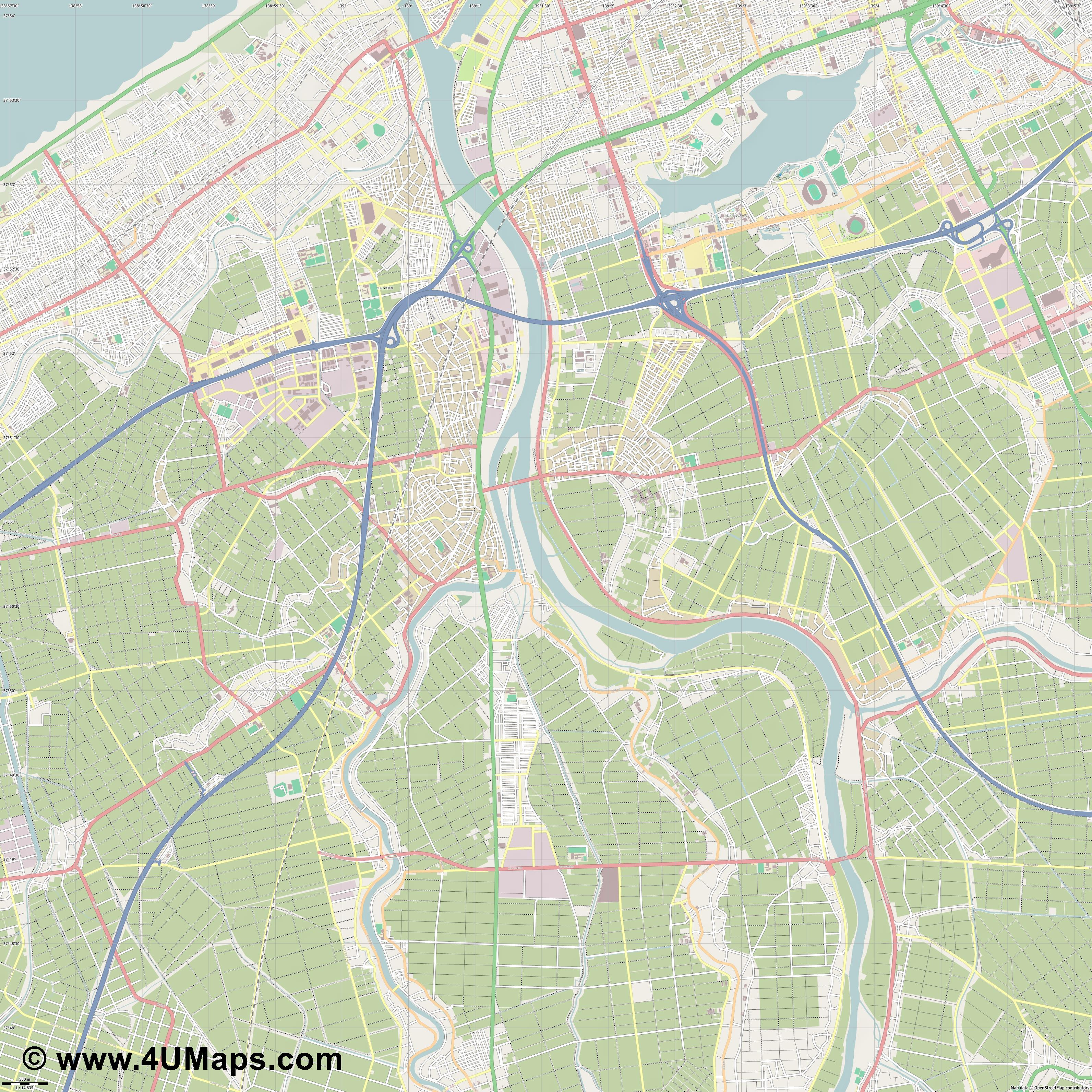 新潟市  Niigata   jpg ultra high detail preview vector city map