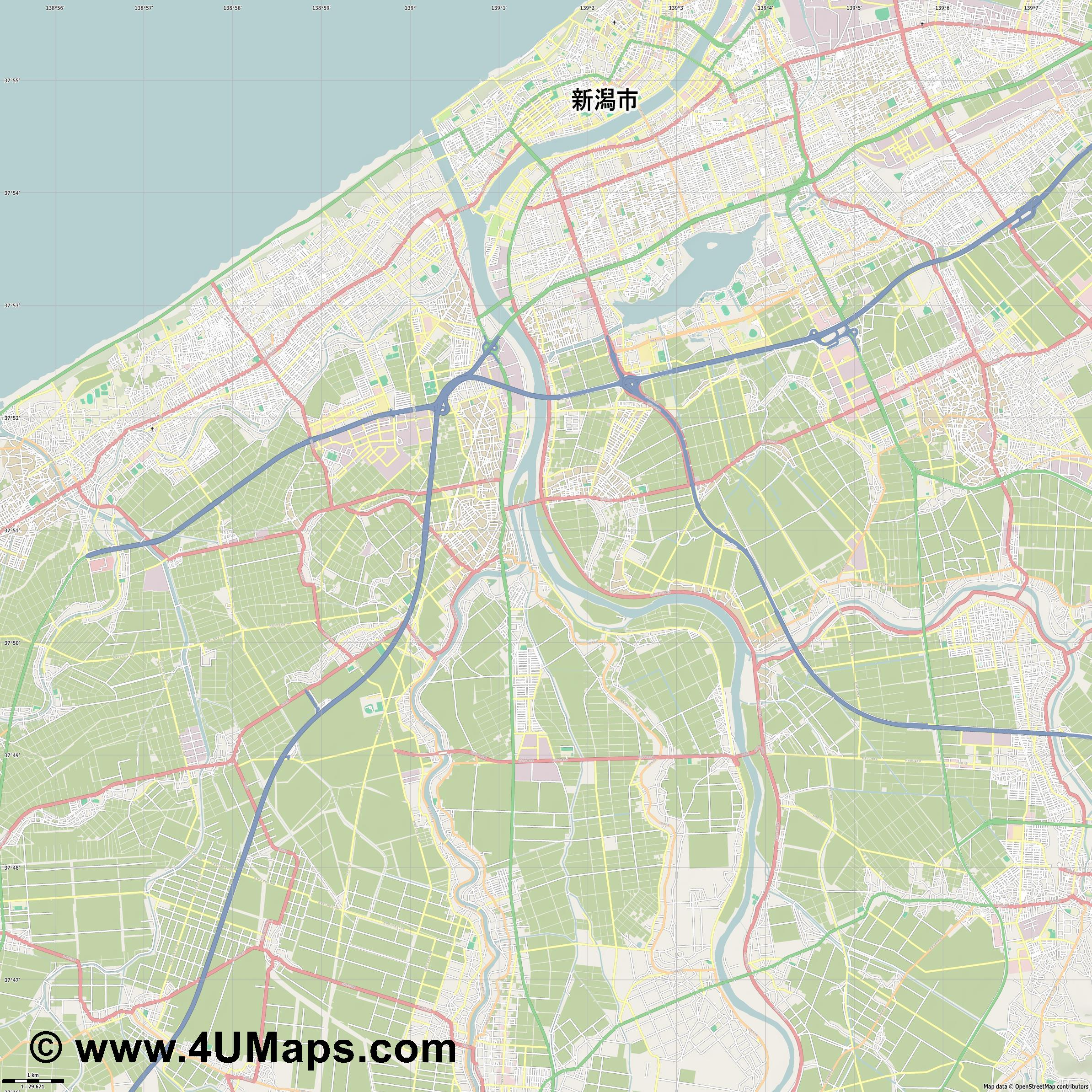 新潟市  Niigata   jpg high detail, large area preview vector city map