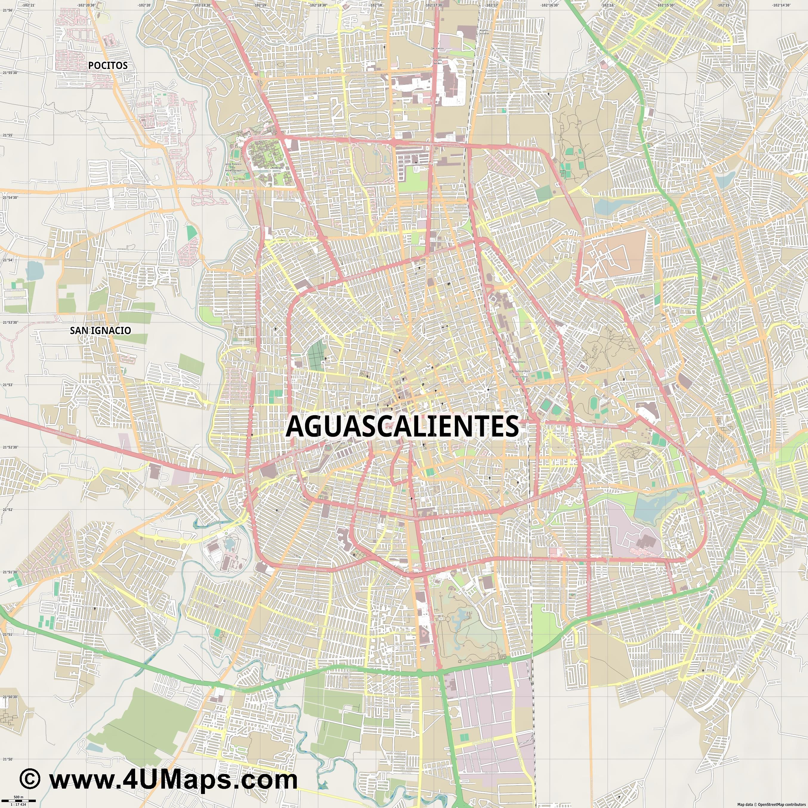 Aguascalientes  jpg ultra high detail preview vector city map