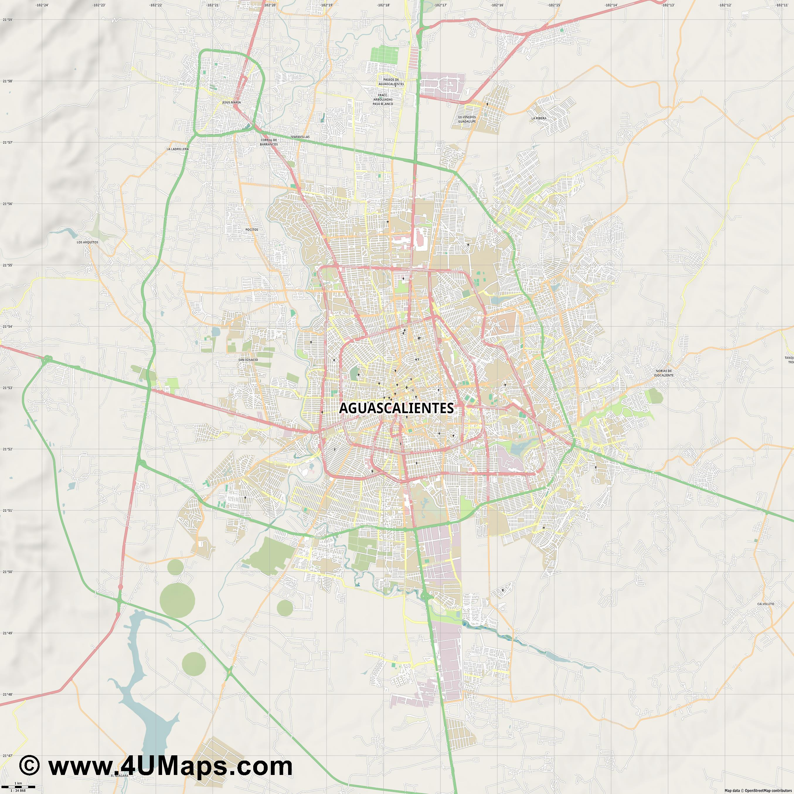 Aguascalientes  jpg high detail, large area preview vector city map