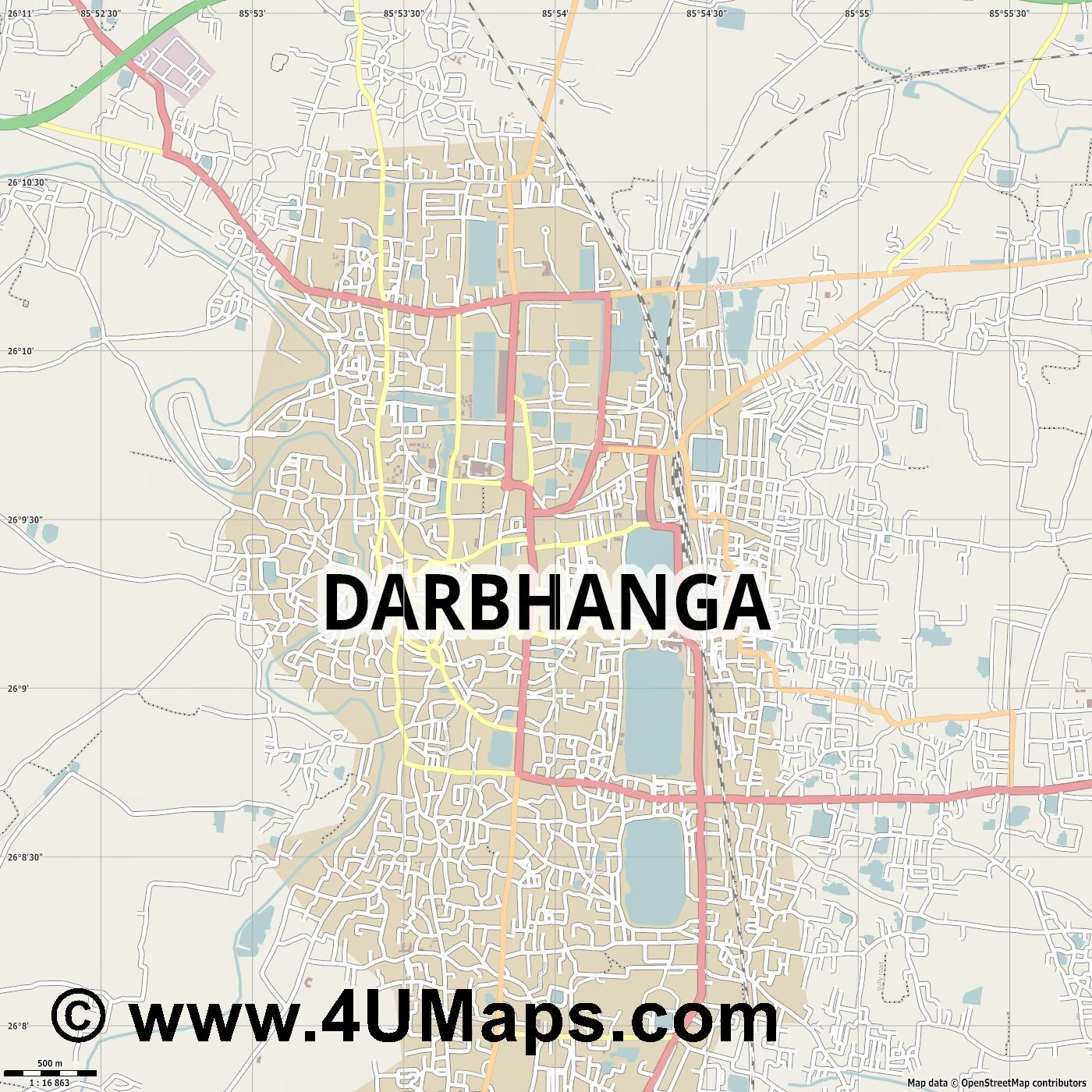 Darbhanga  jpg ultra high detail preview vector city map