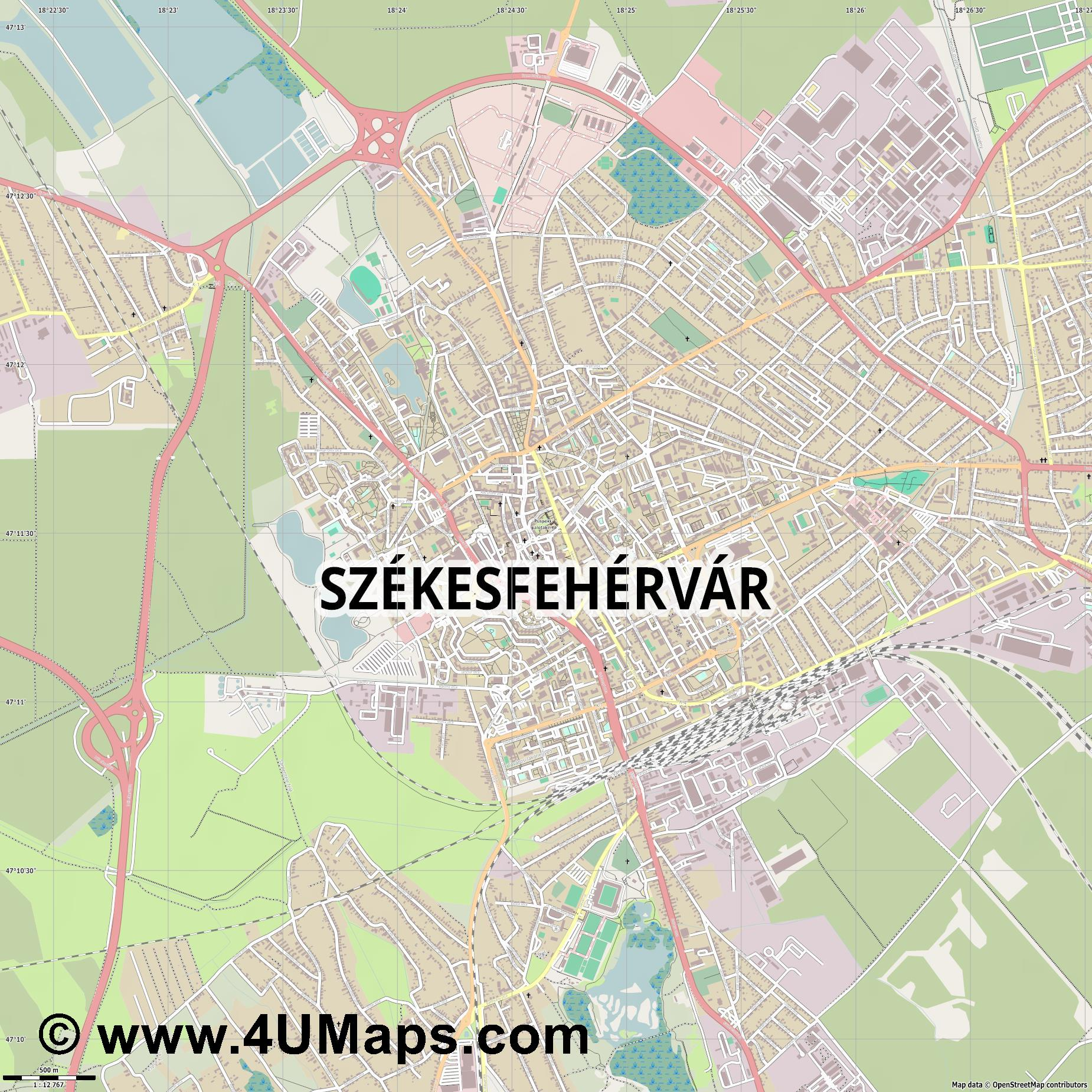 Székesfehérvár Stuhlweißenburg  jpg ultra high detail preview vector city map