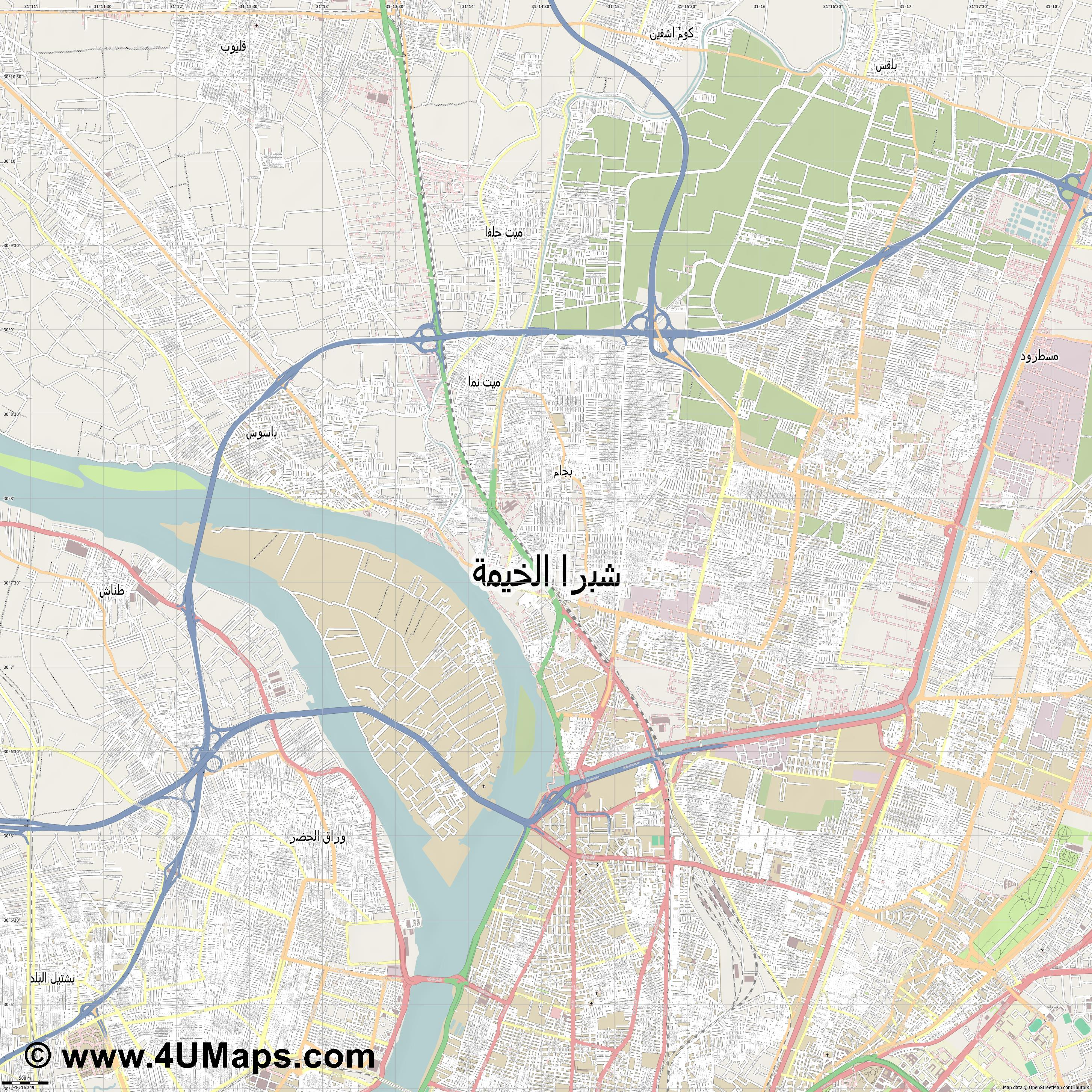 شبرا الخيمة Shubra al Khayma  jpg ultra high detail preview vector city map