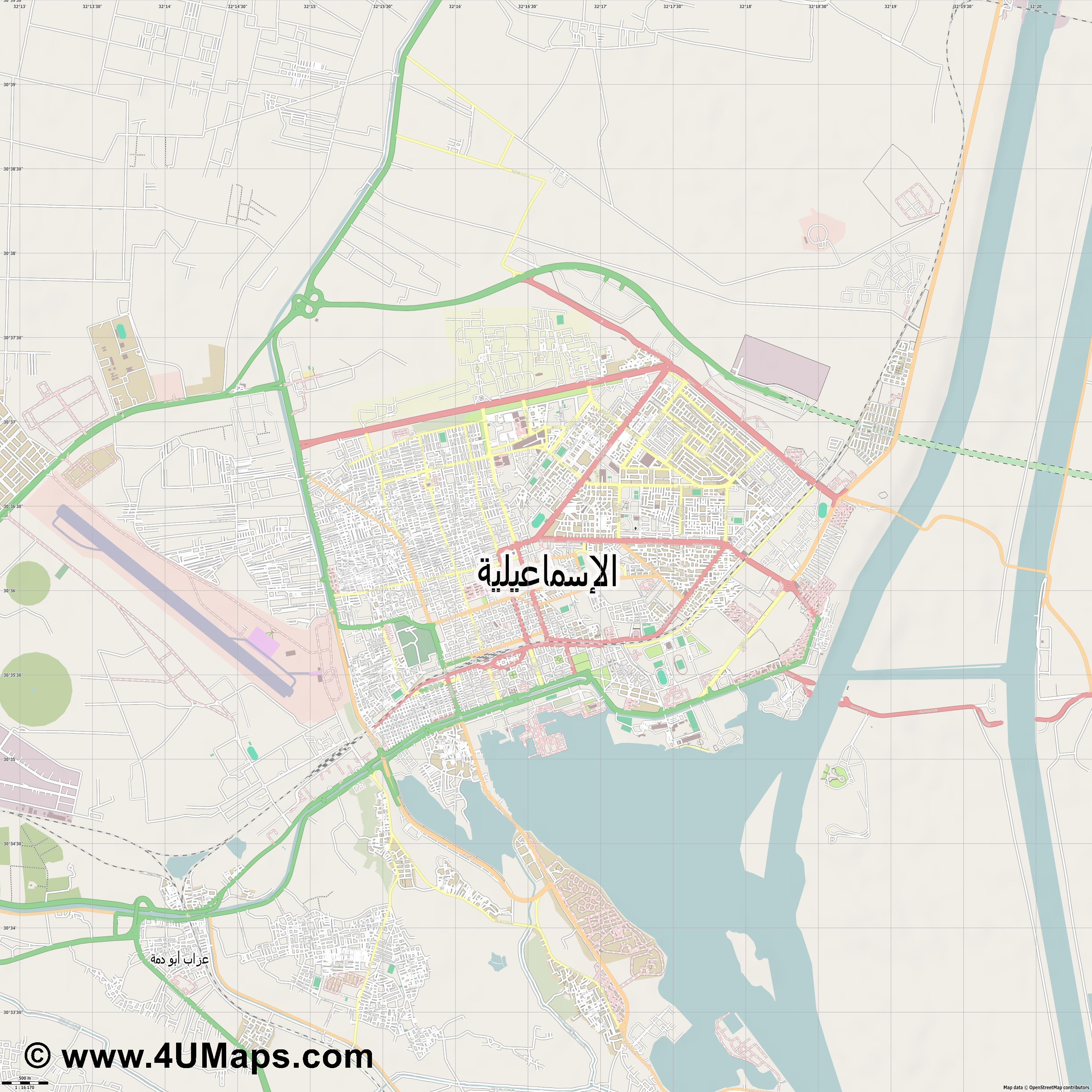 الإسماعيلية Al Ismailiya  jpg ultra high detail preview vector city map