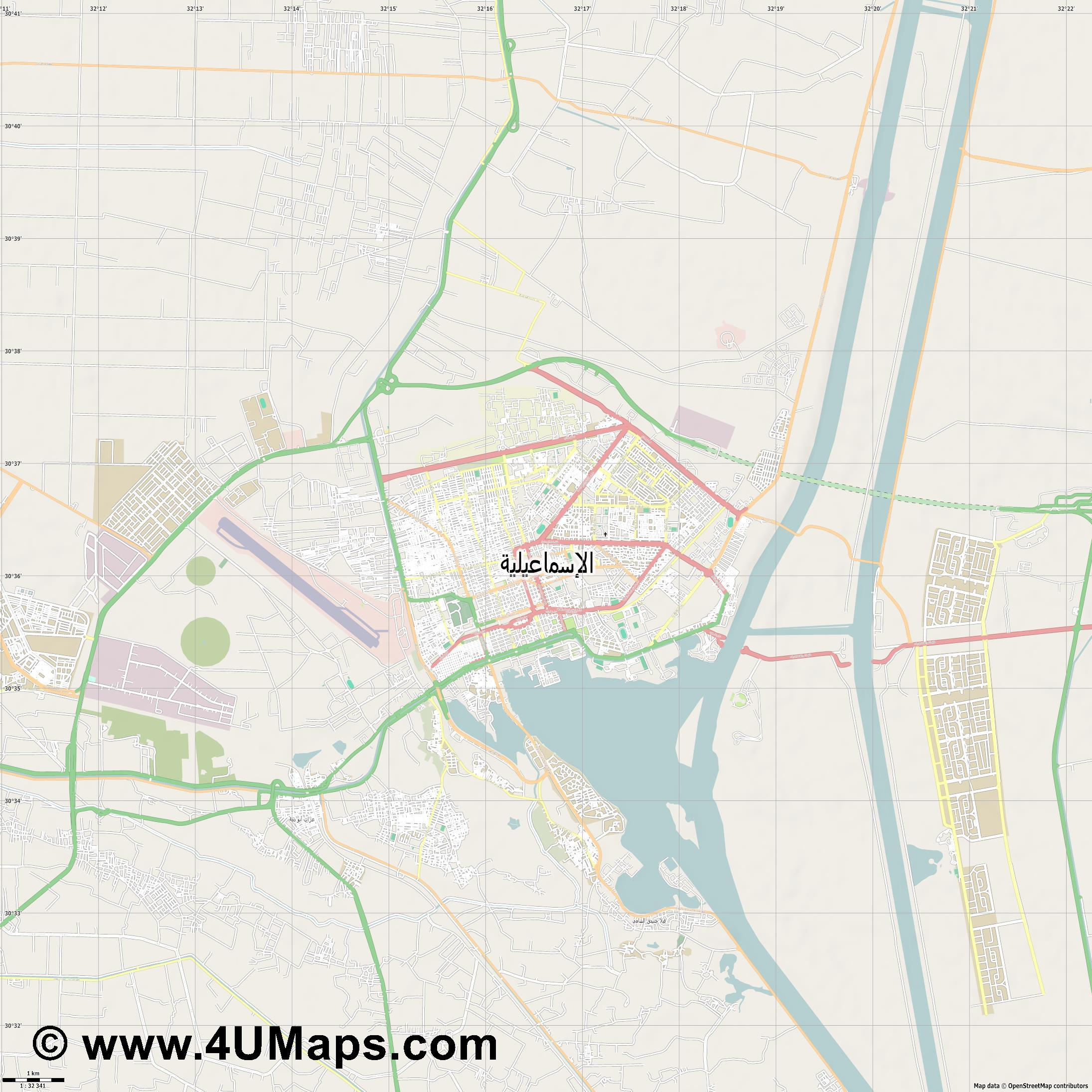 الإسماعيلية Al Ismailiya  jpg high detail, large area preview vector city map