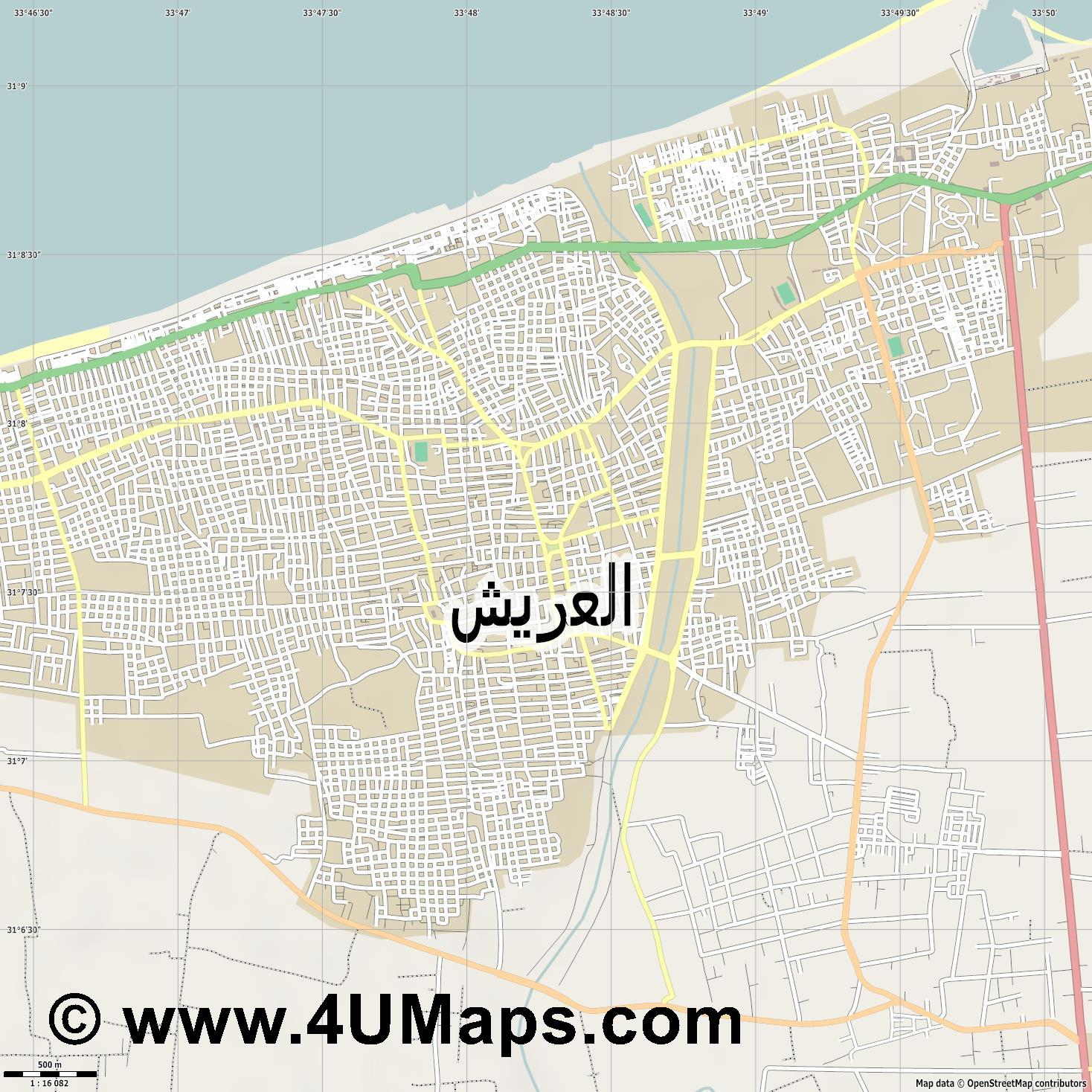 العريش Al Arish  jpg ultra high detail preview vector city map
