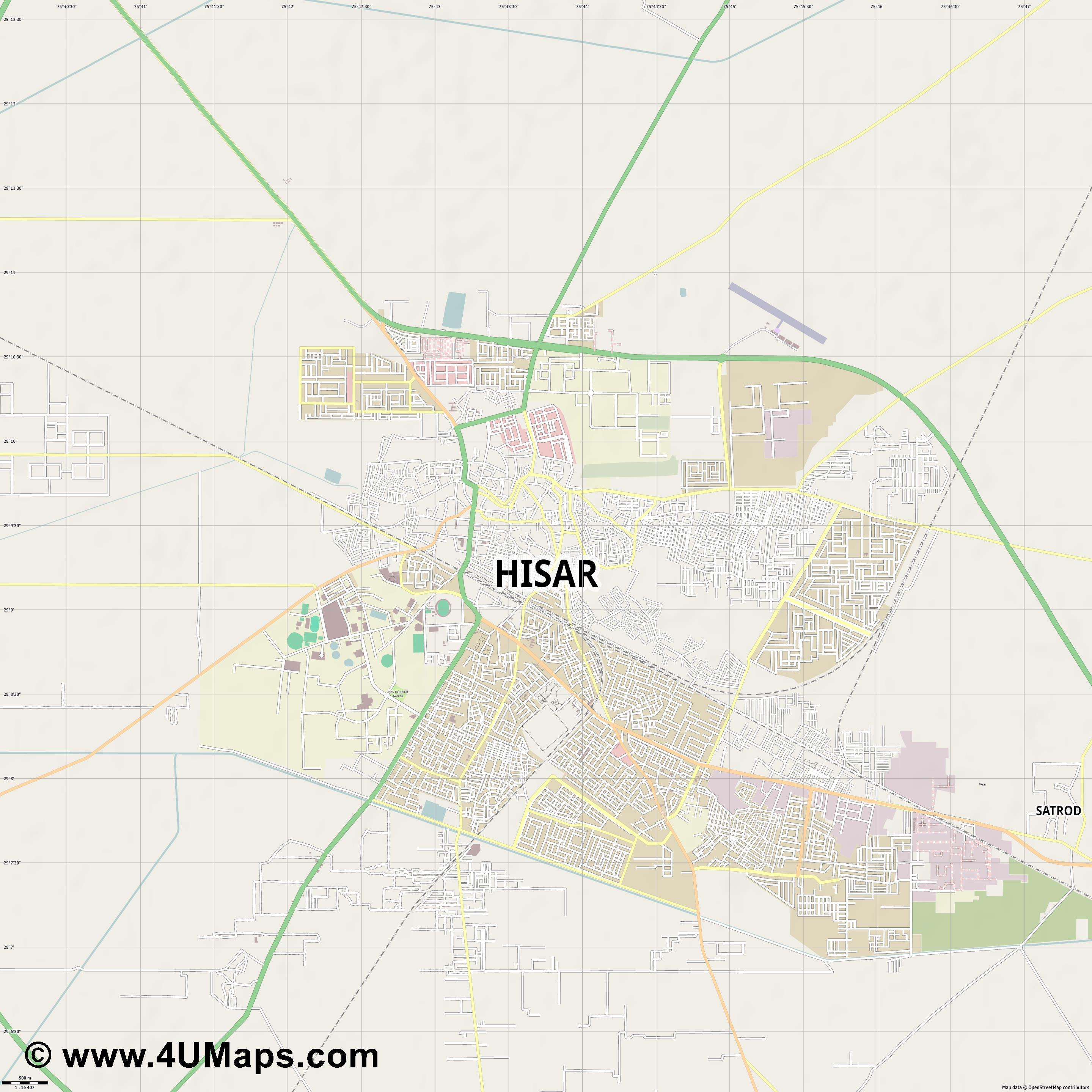 Hisar  jpg ultra high detail preview vector city map
