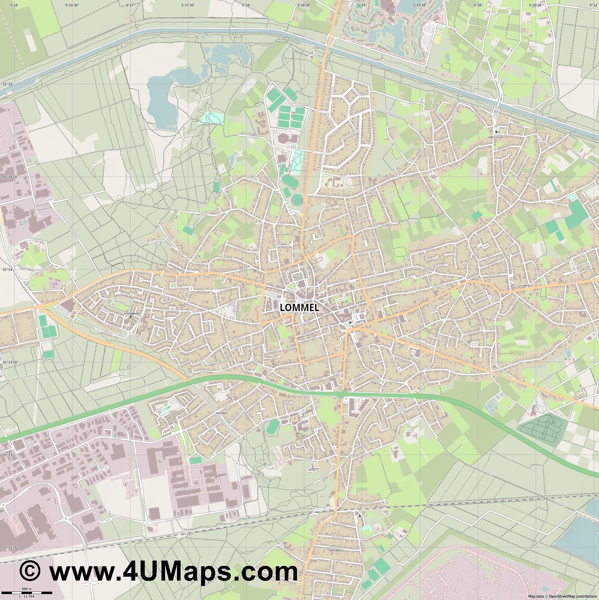 Lommel  jpg ultra high detail preview vector city map