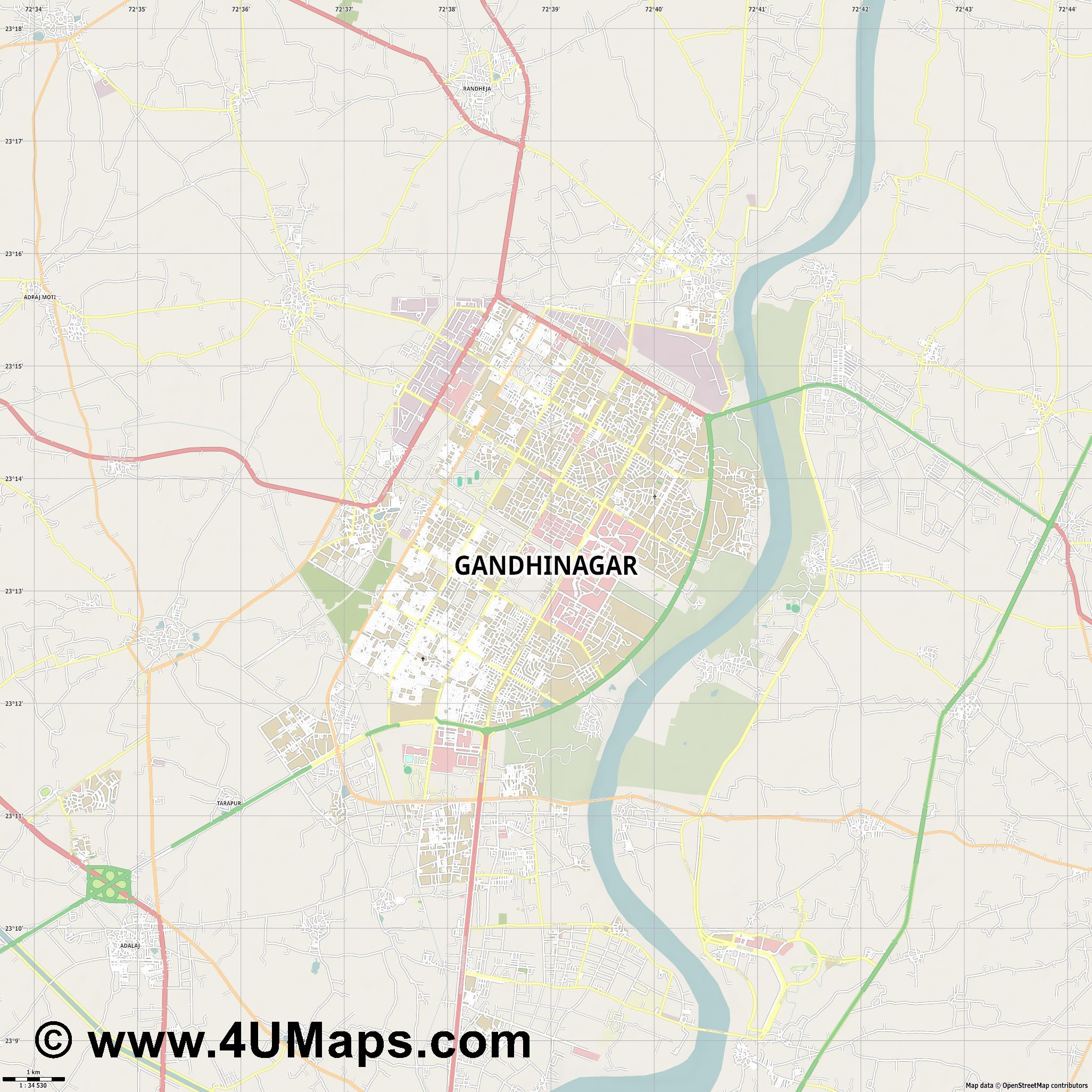 Gandhinagar  jpg high detail, large area preview vector city map