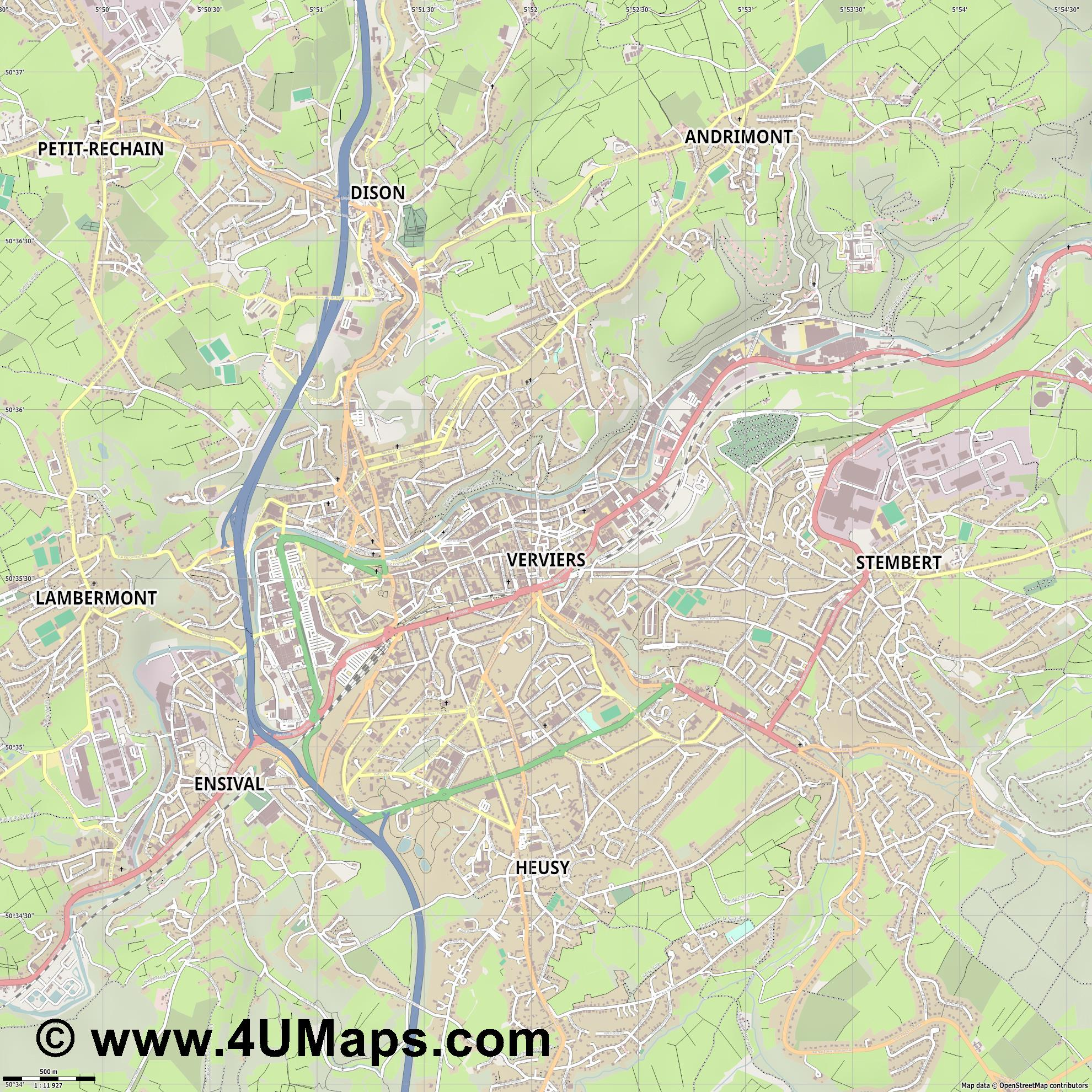 Verviers  jpg ultra high detail preview vector city map