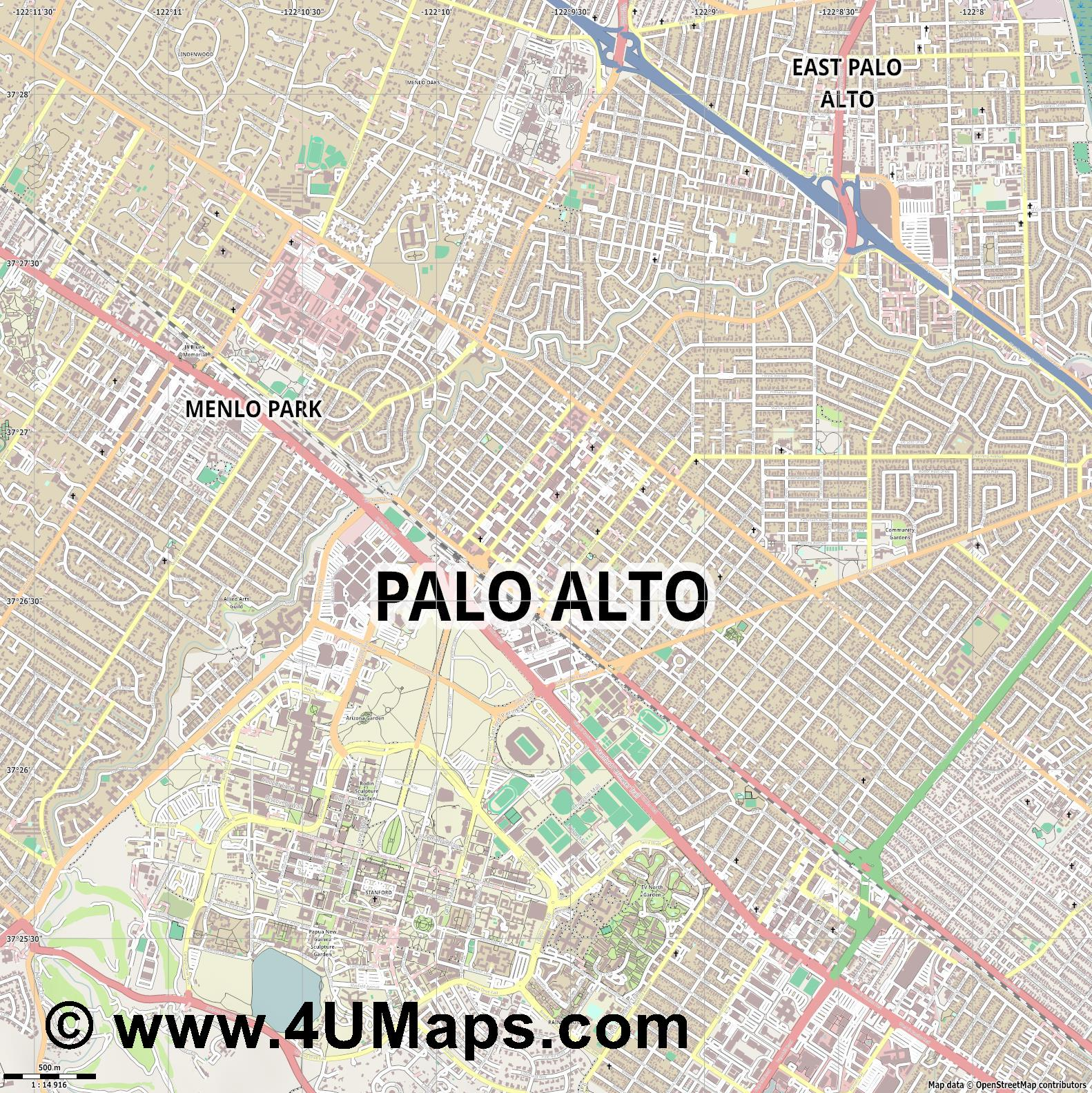 Palo Alto  jpg ultra high detail preview vector city map