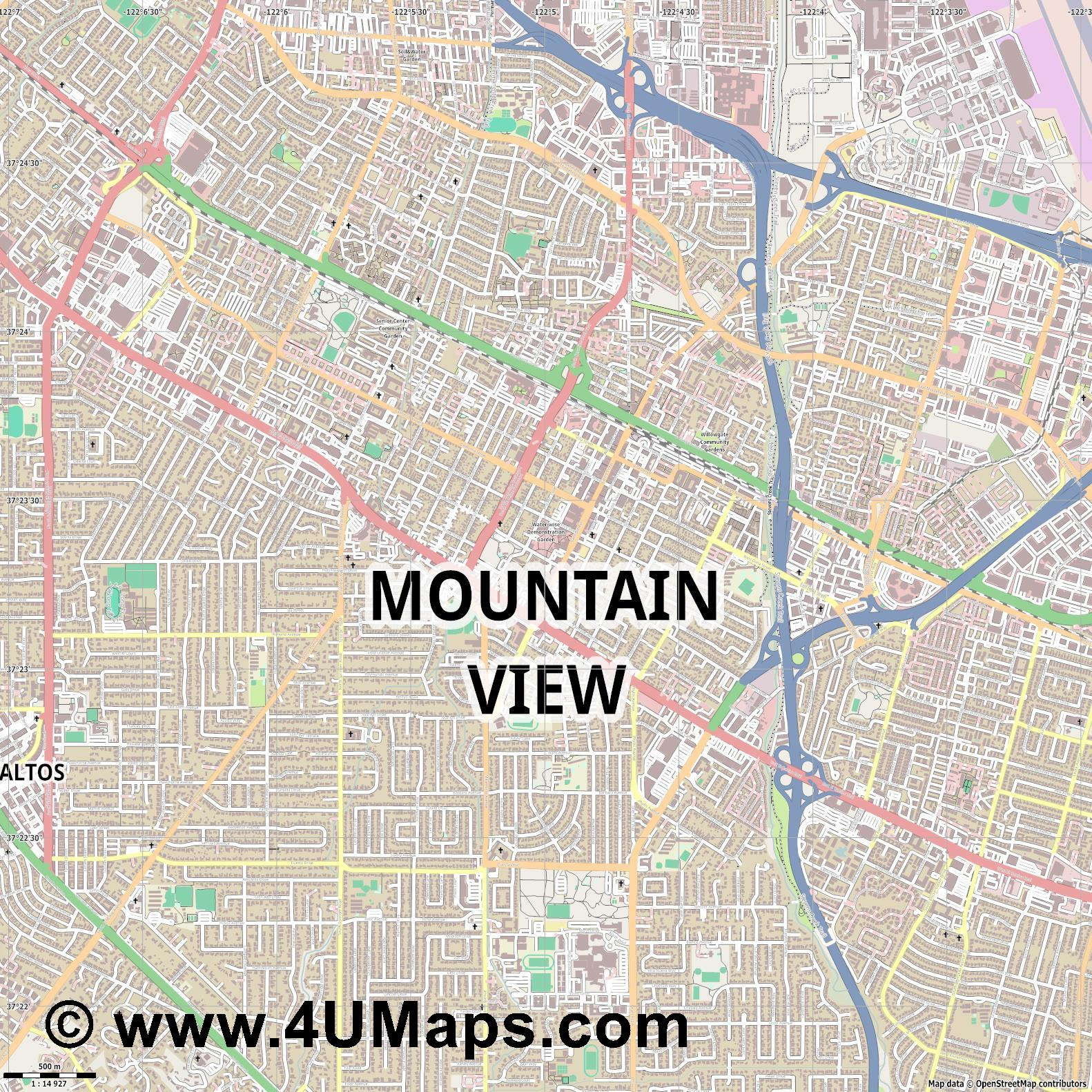 Mountain View  jpg ultra high detail preview vector city map