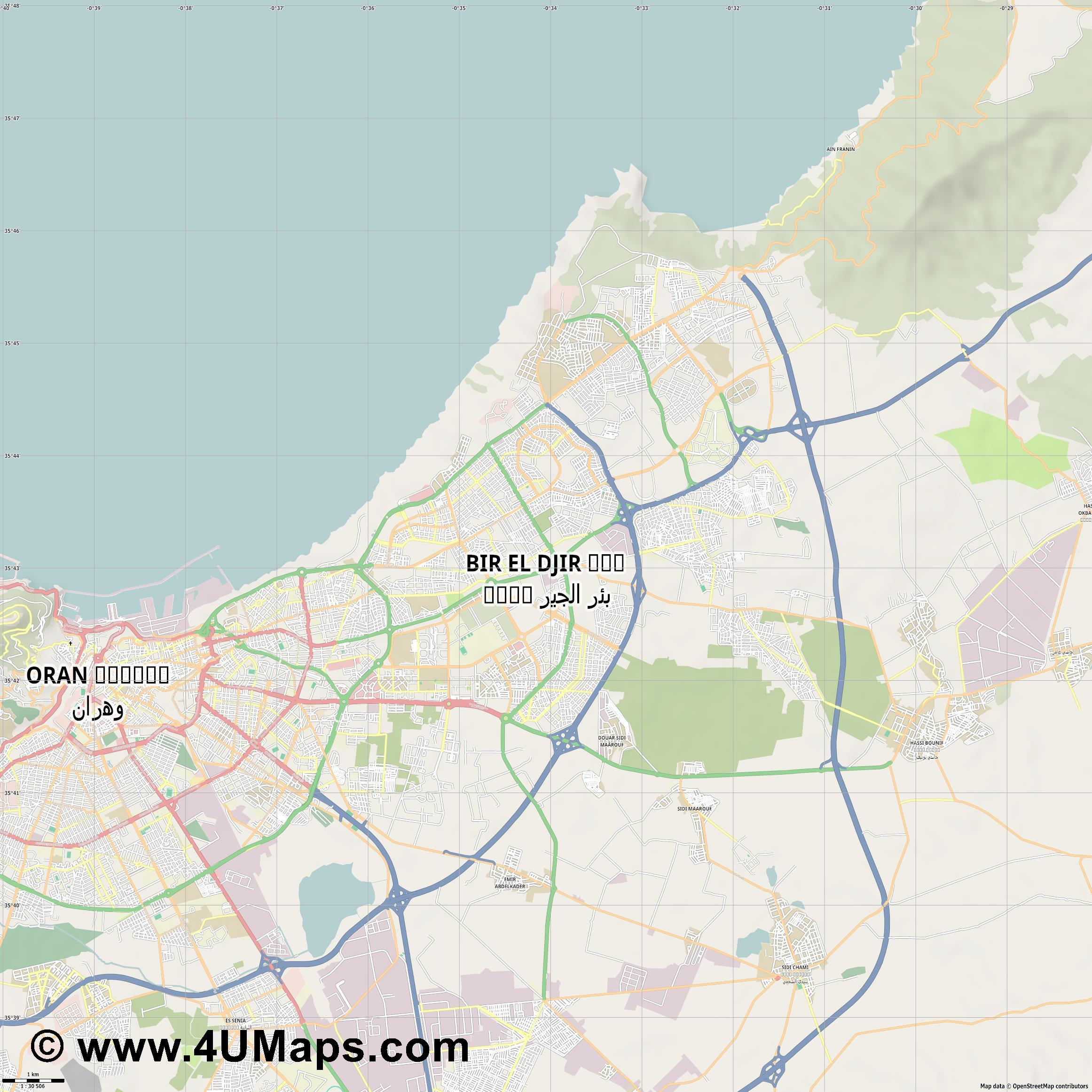 Bir El Djir  jpg high detail, large area preview vector city map