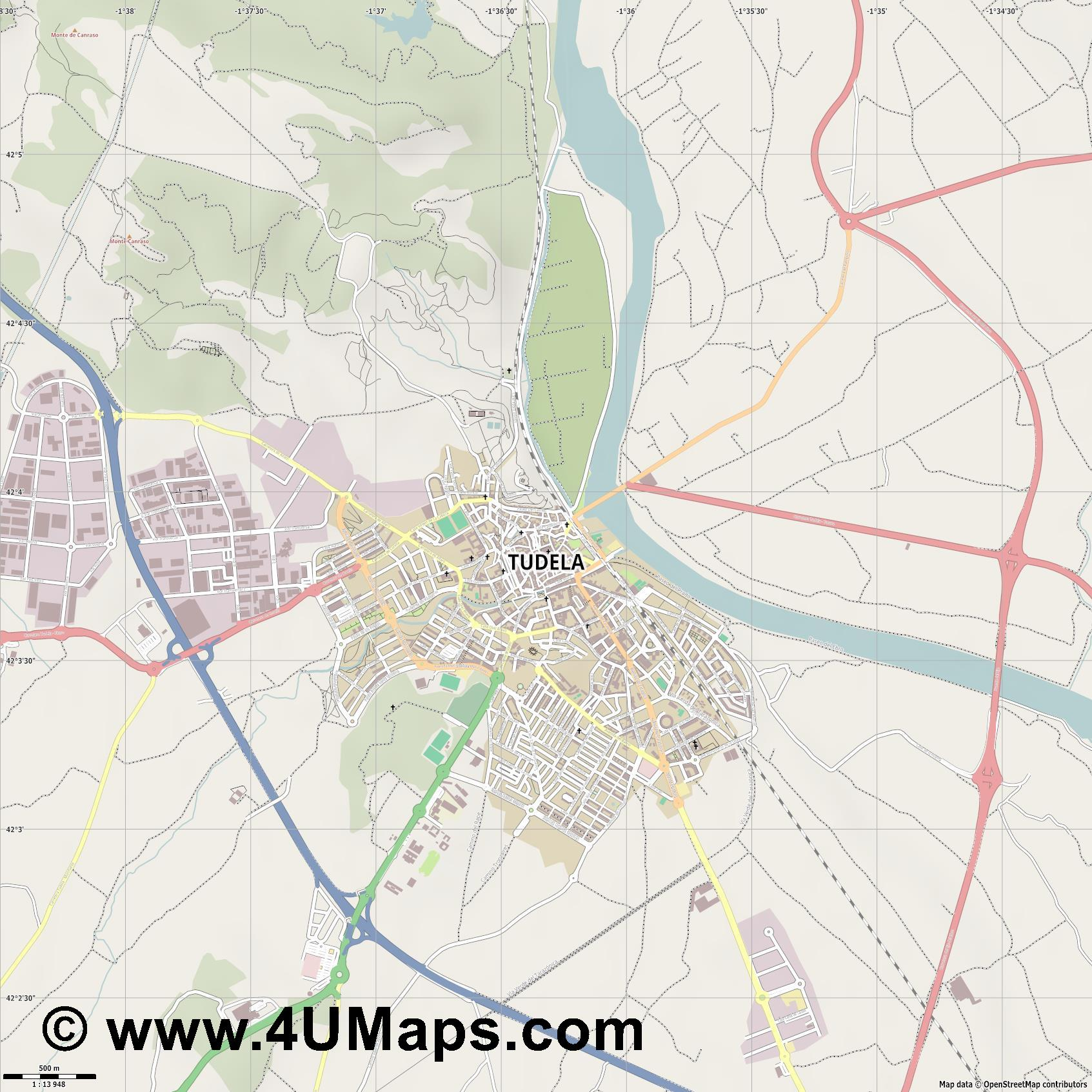 Tudela  jpg ultra high detail preview vector city map
