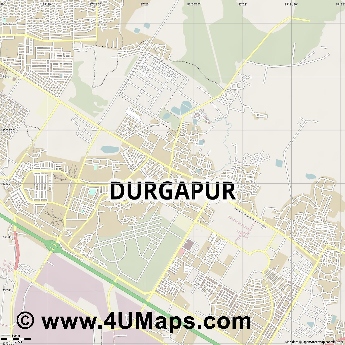 Durgapur  jpg ultra high detail preview vector city map