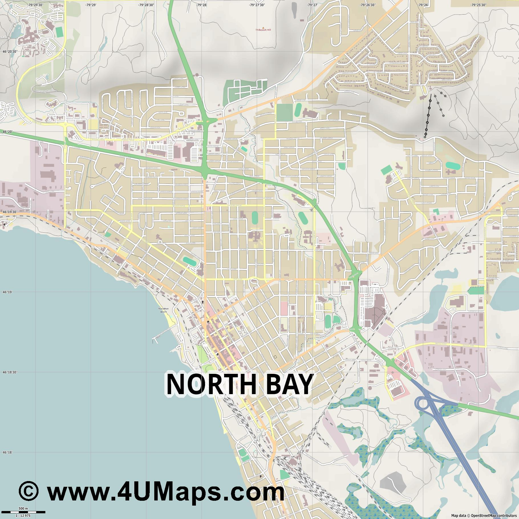 North Bay  jpg ultra high detail preview vector city map