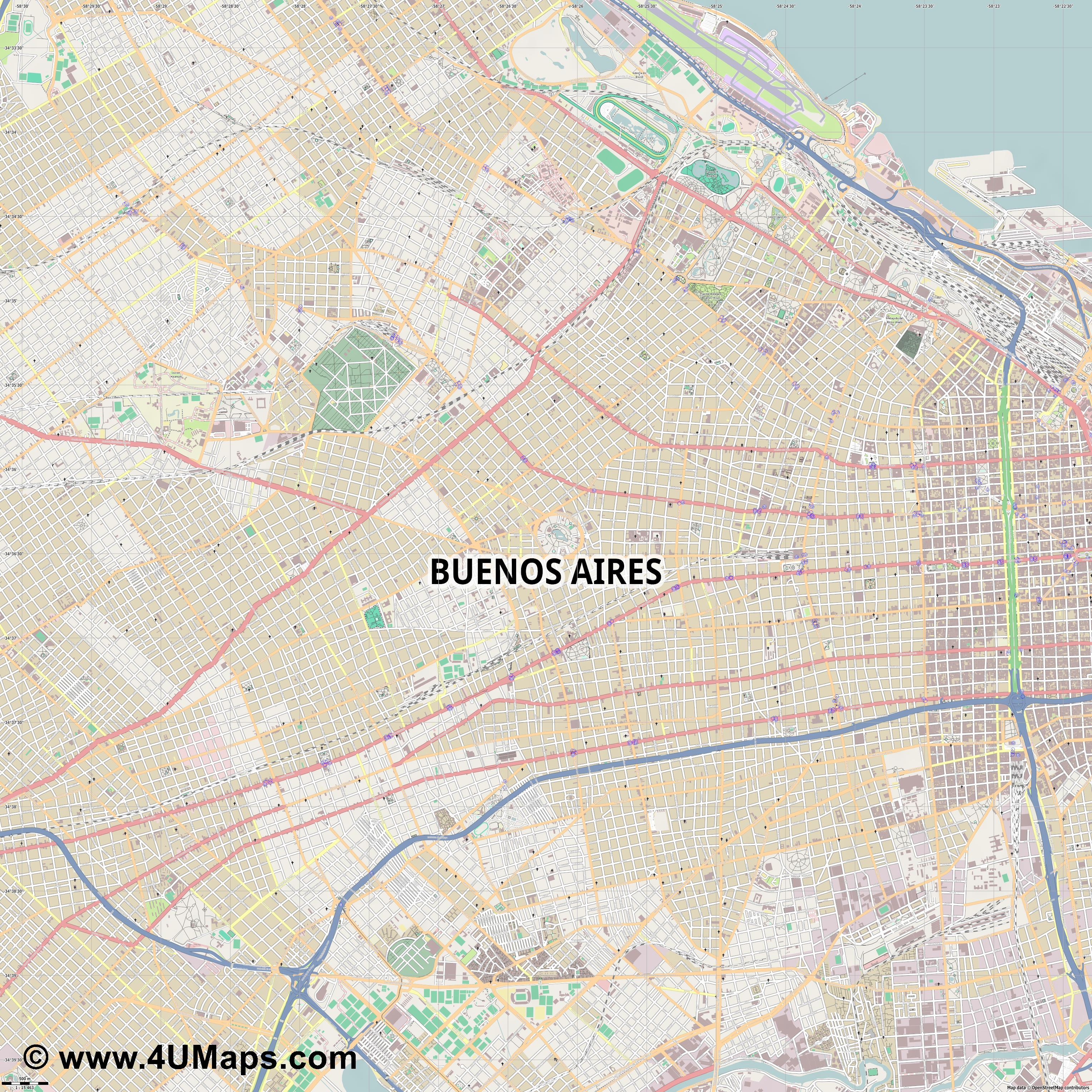 Buenos Aires  jpg ultra high detail preview vector city map