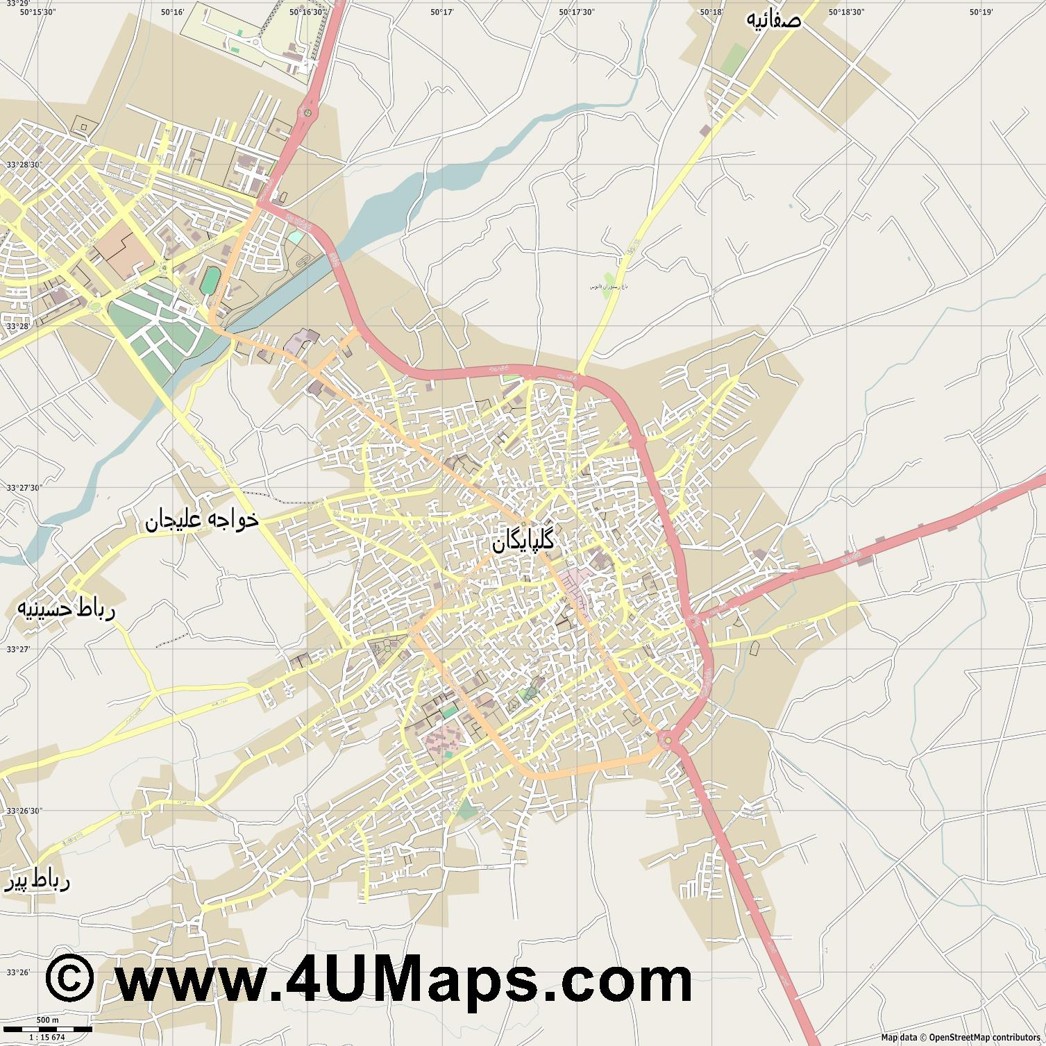 گلپایگان Golpayegan  jpg ultra high detail preview vector city map