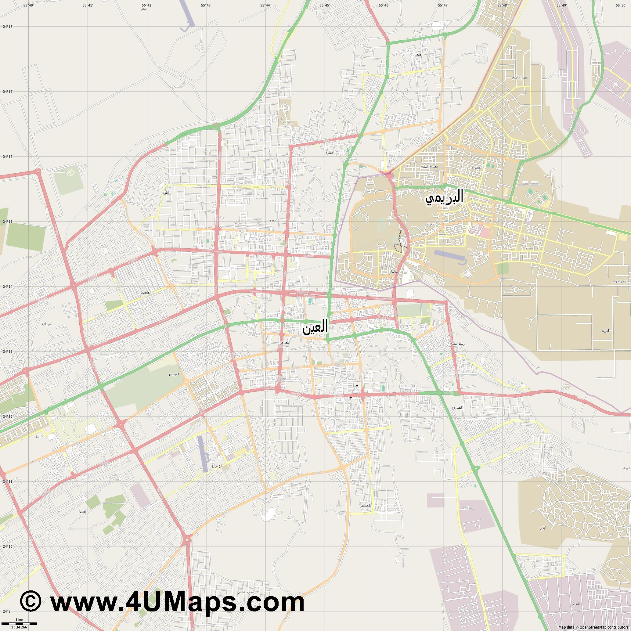 Al Ain al Ain  jpg high detail, large area preview vector city map