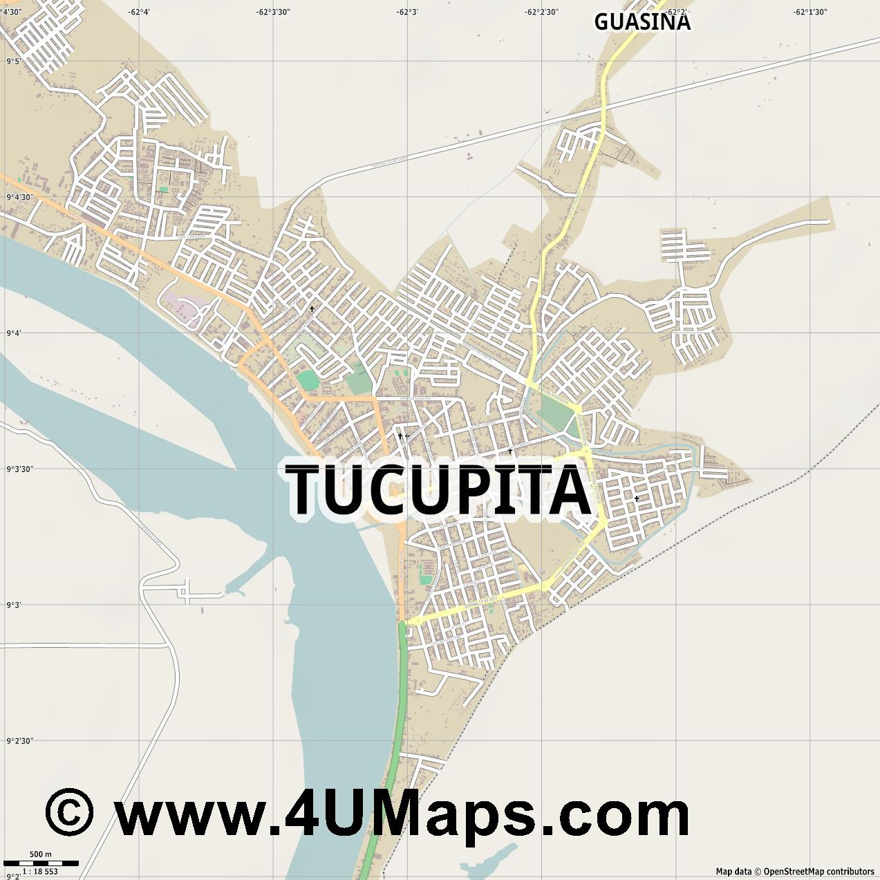 Tucupita  jpg ultra high detail preview vector city map