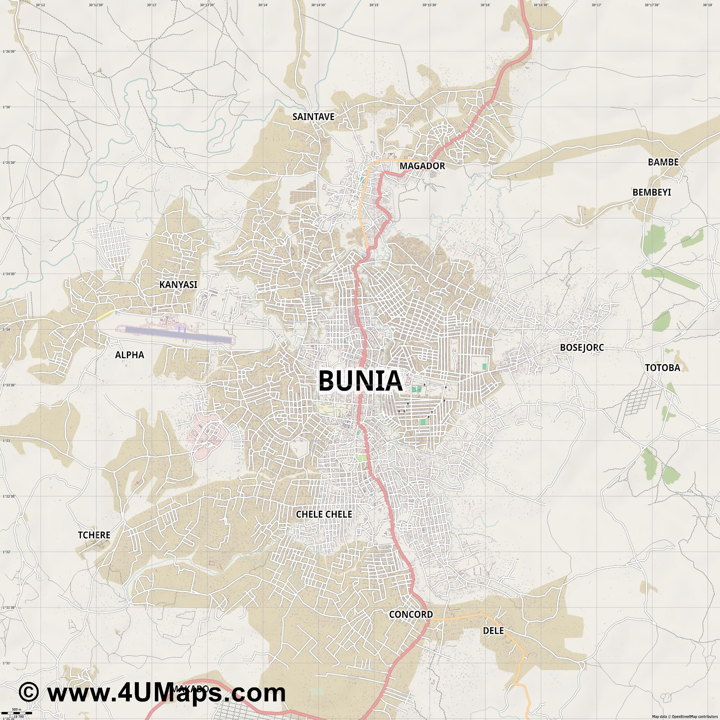 Bunia  jpg ultra high detail preview vector city map
