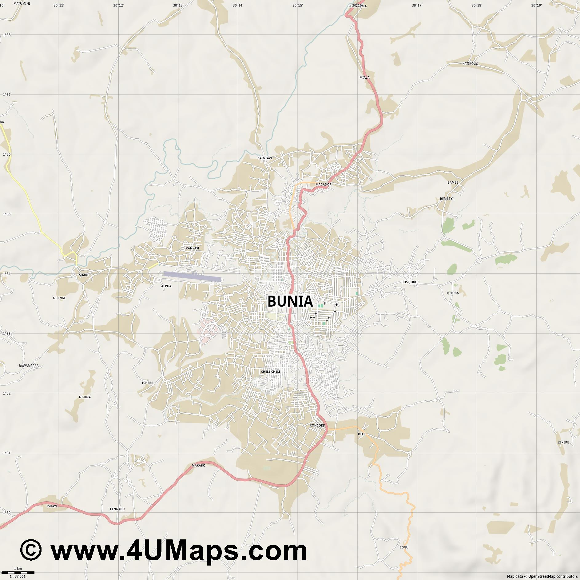 Bunia  jpg high detail, large area preview vector city map