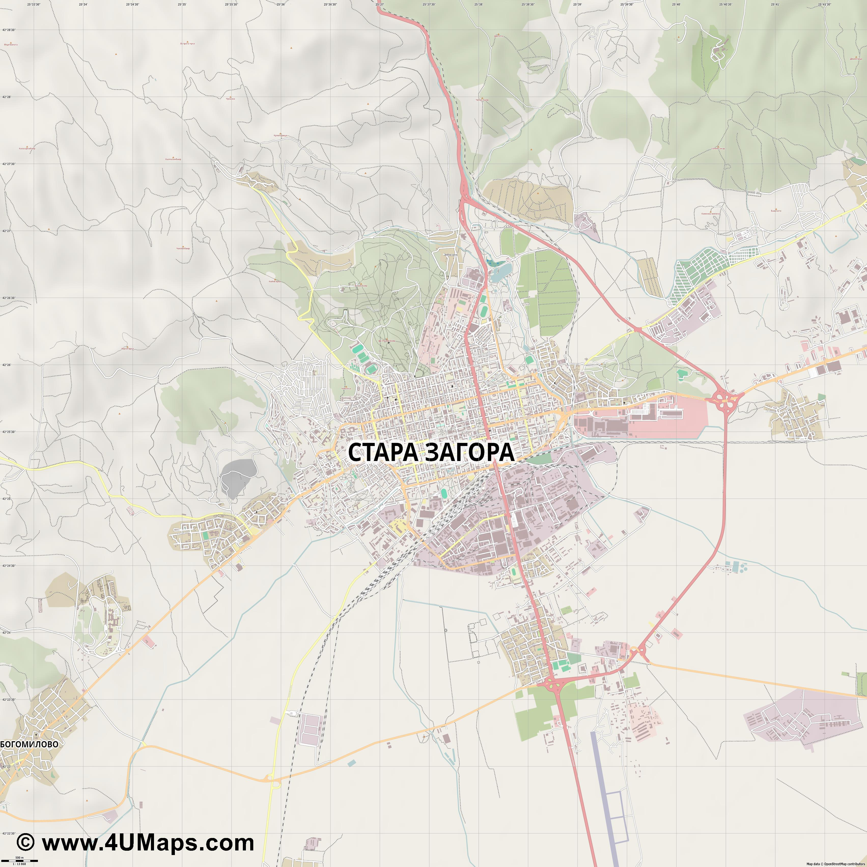 Pdf Svg Scalable City Map Vector Stara Zagora