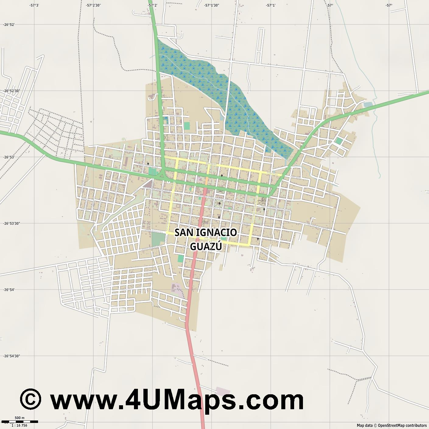 San Ignacio Guazú  jpg ultra high detail preview vector city map