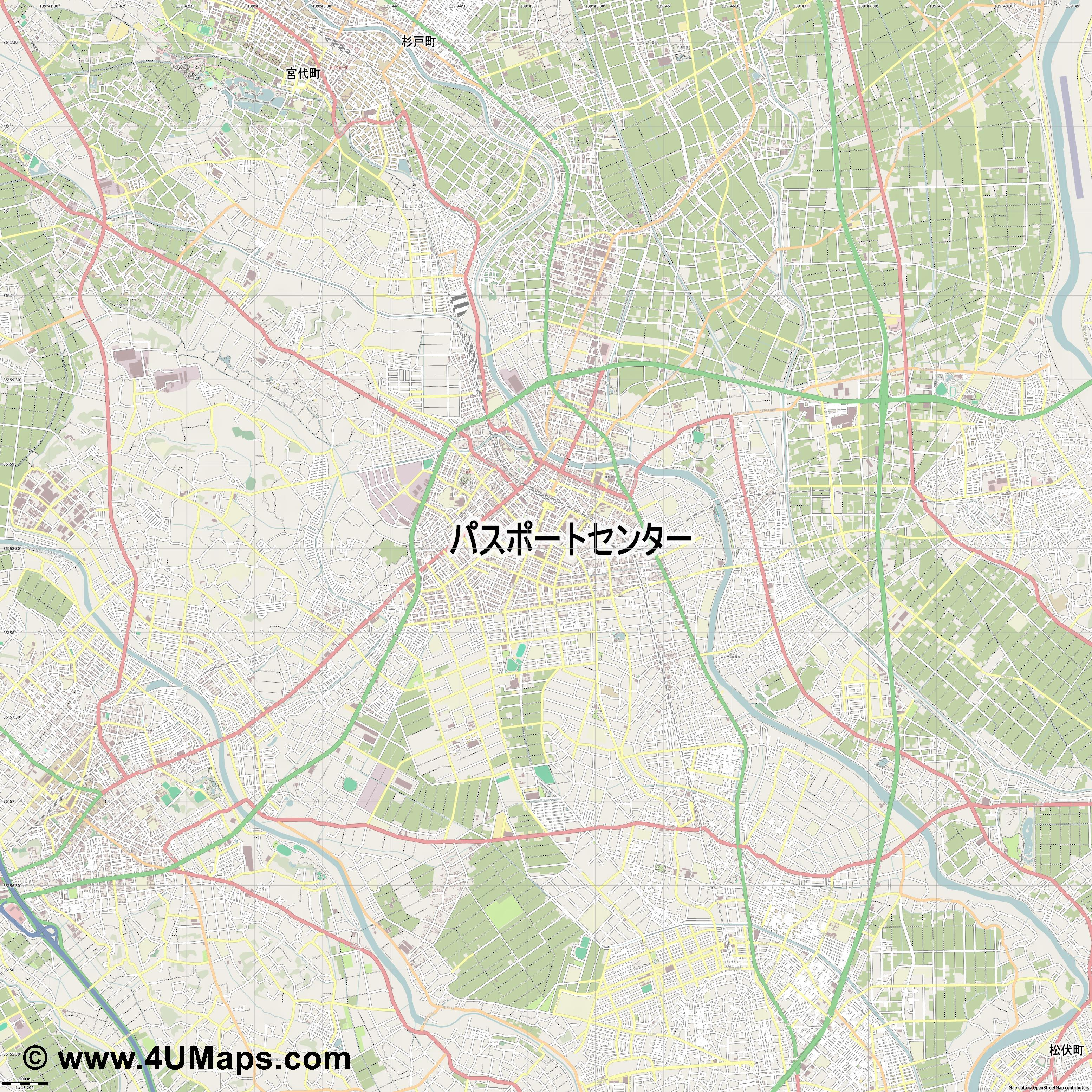 春日部市  Kasukabe   jpg ultra high detail preview vector city map