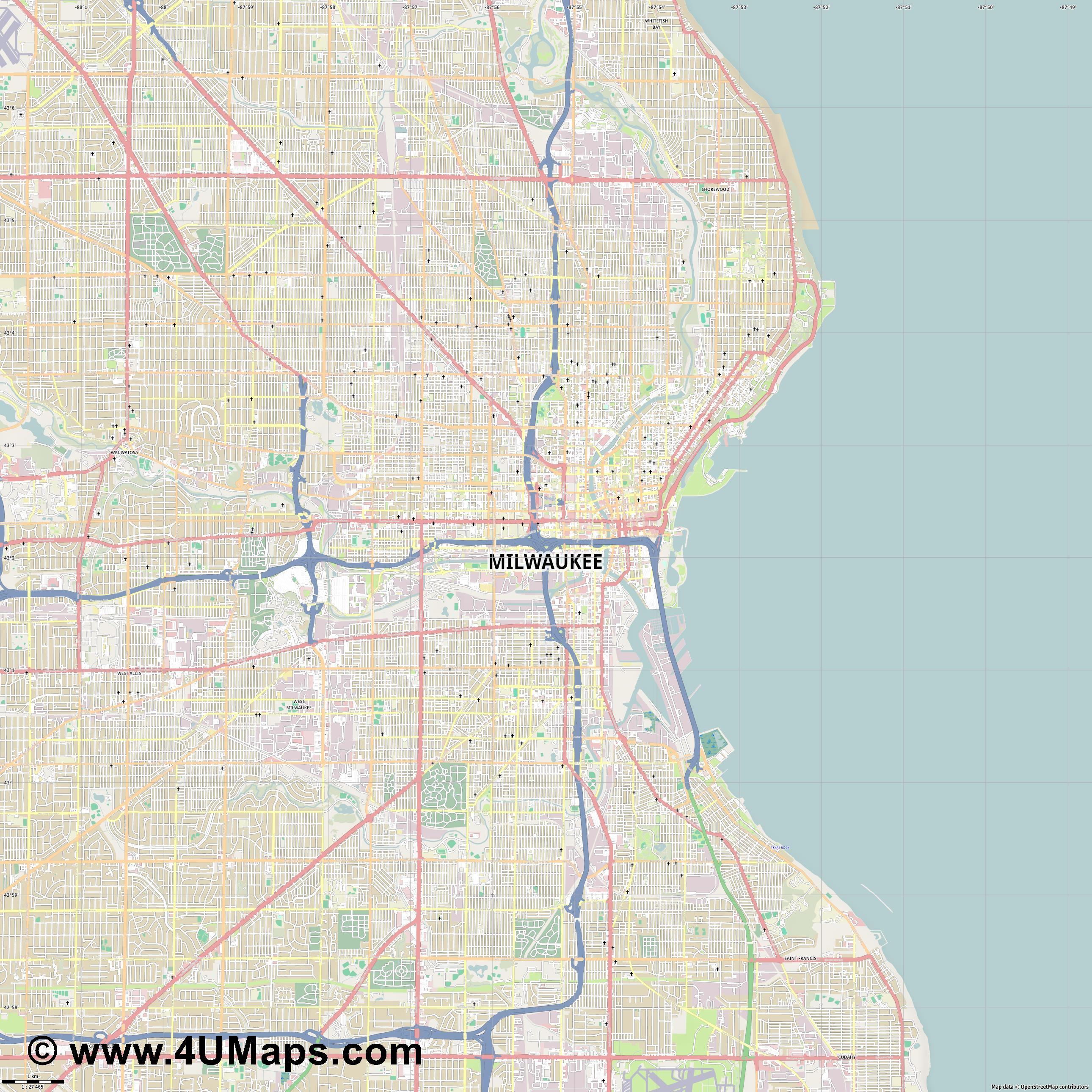 Milwaukee  jpg high detail, large area preview vector city map