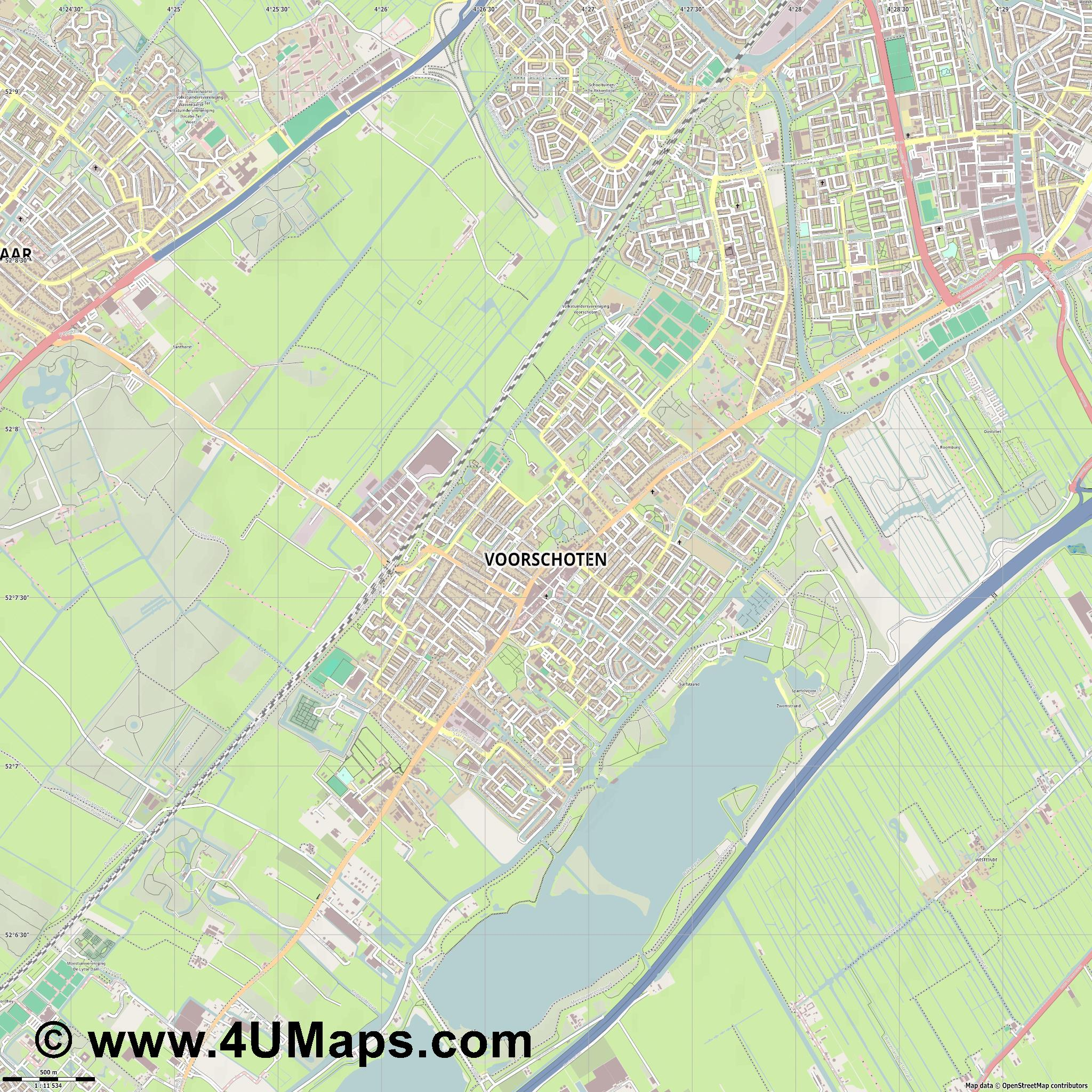 Voorschoten  jpg ultra high detail preview vector city map