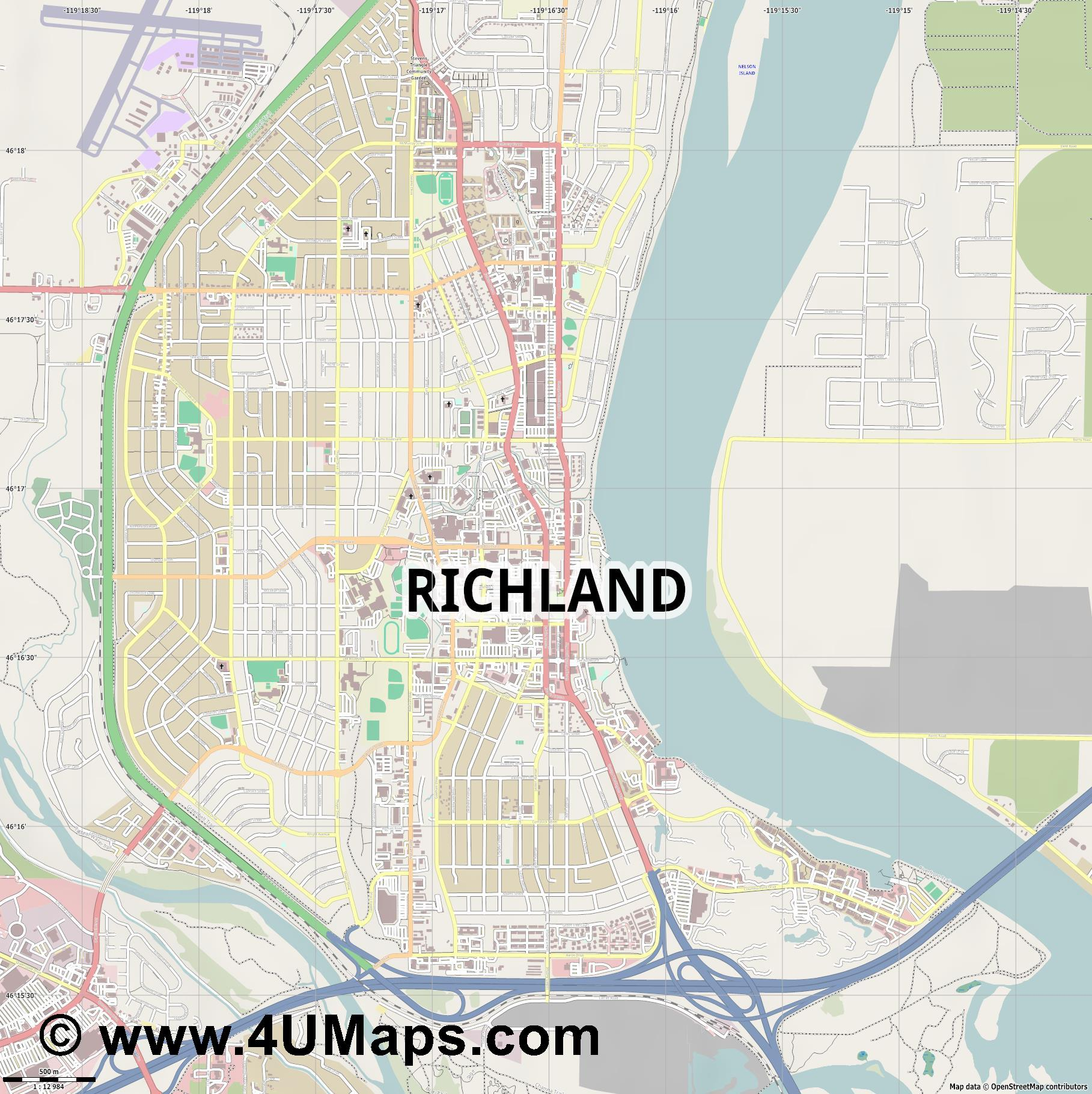 Richland  jpg ultra high detail preview vector city map