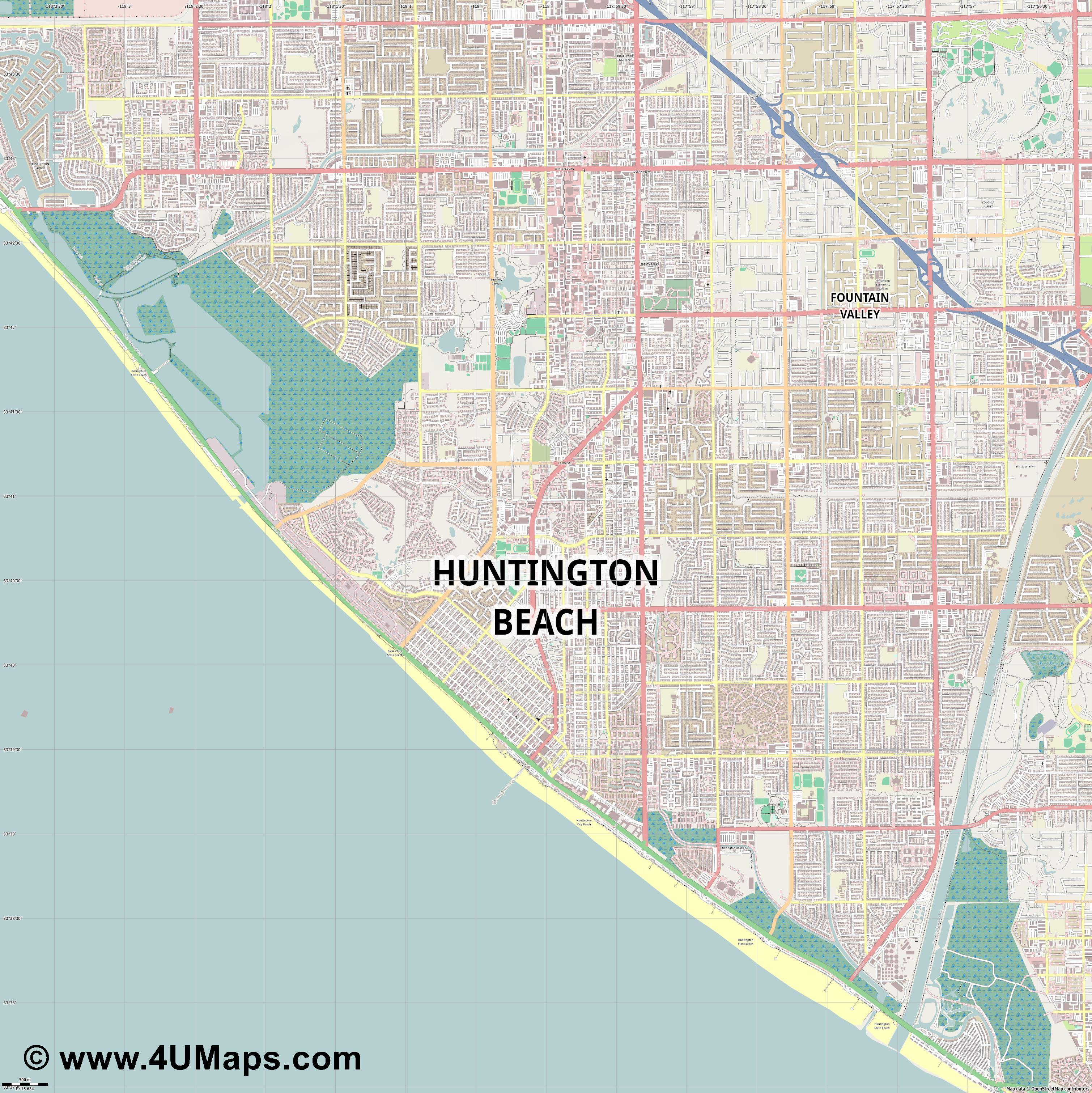 Huntington Beach  jpg ultra high detail preview vector city map