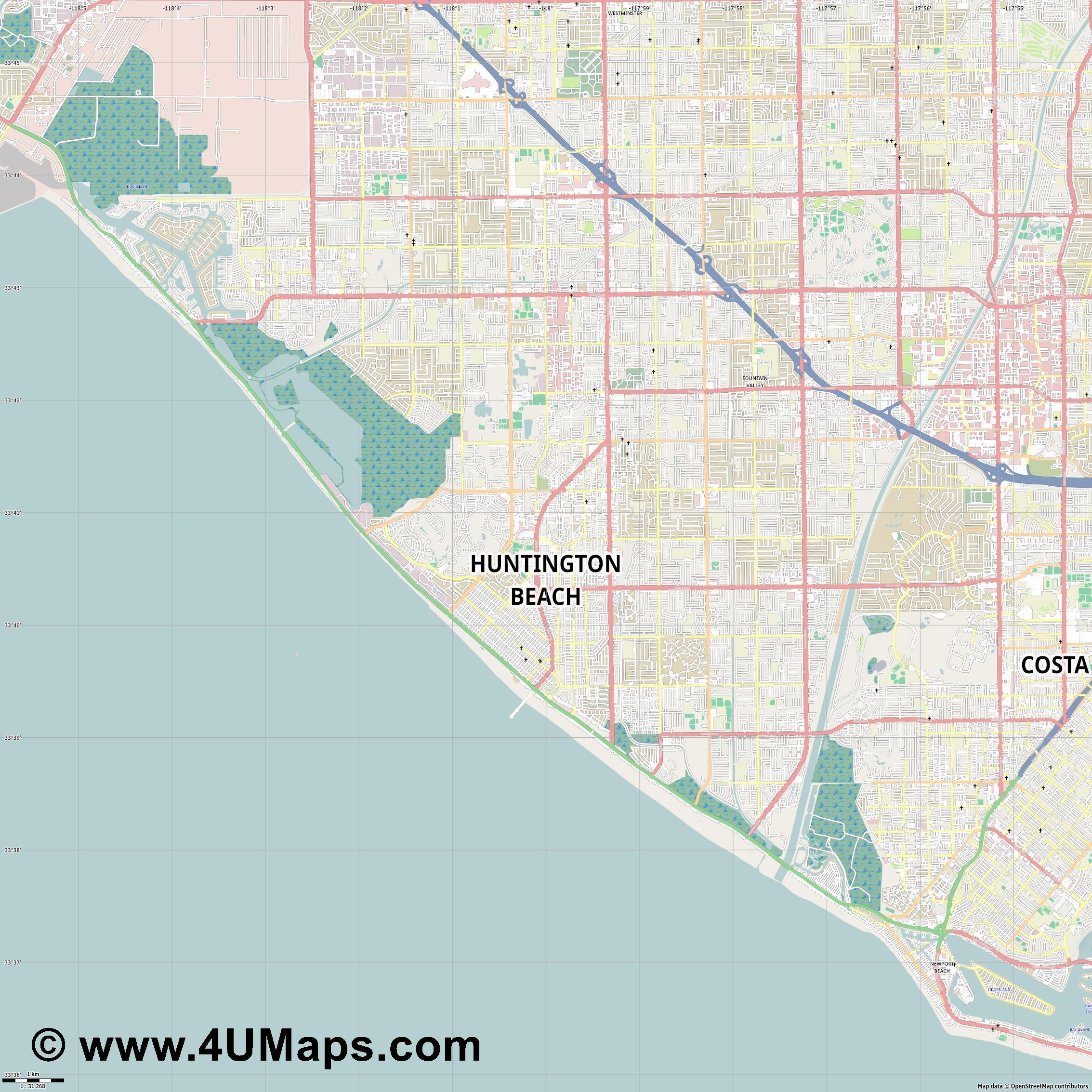 Huntington Beach  jpg high detail, large area preview vector city map