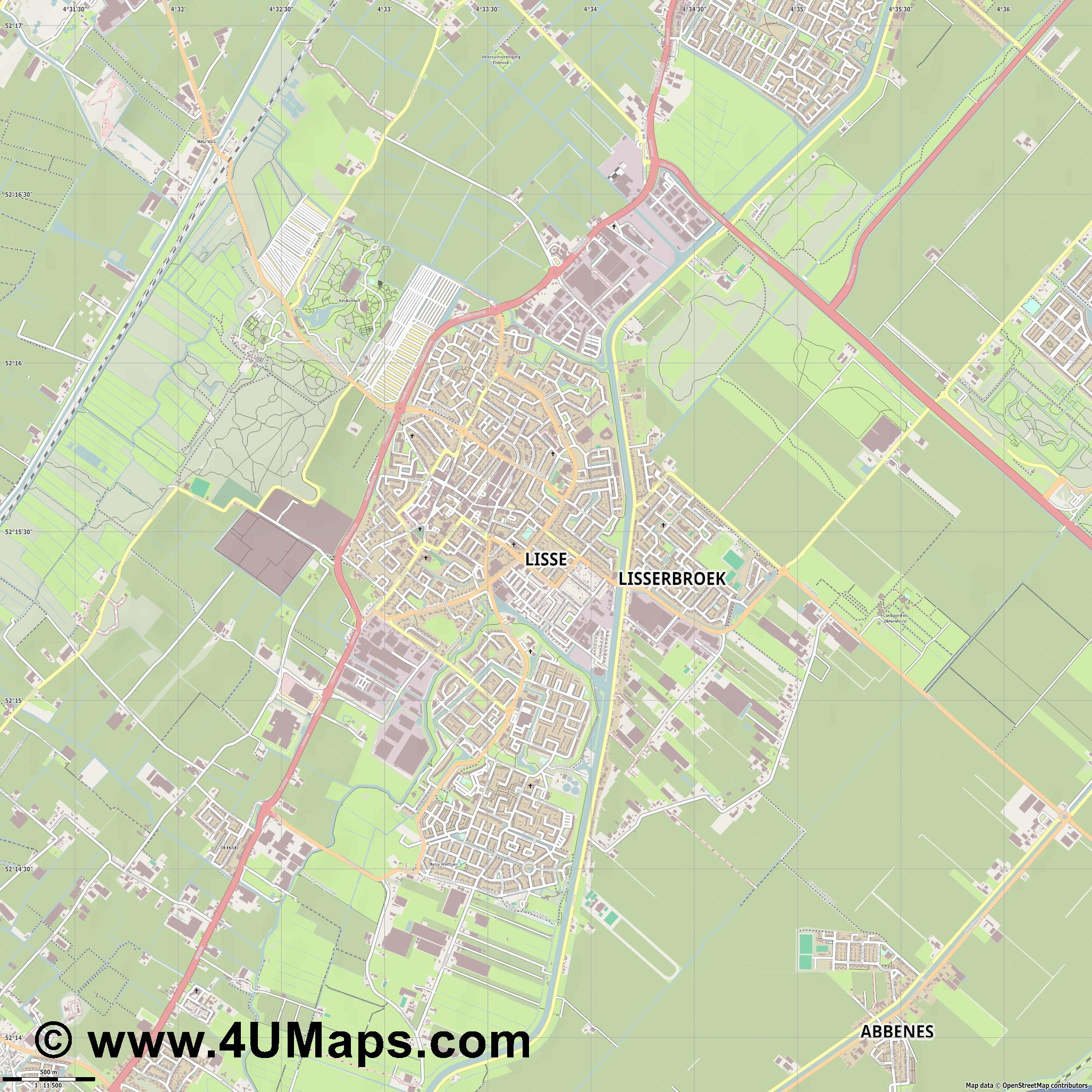 Lisse  jpg ultra high detail preview vector city map