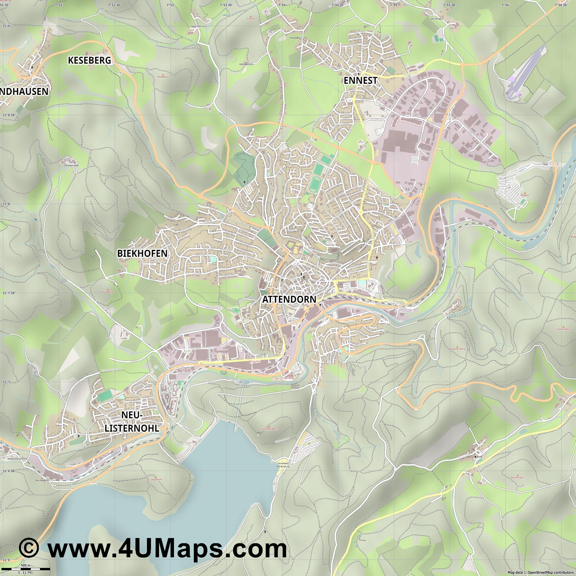 Attendorn  jpg ultra high detail preview vector city map
