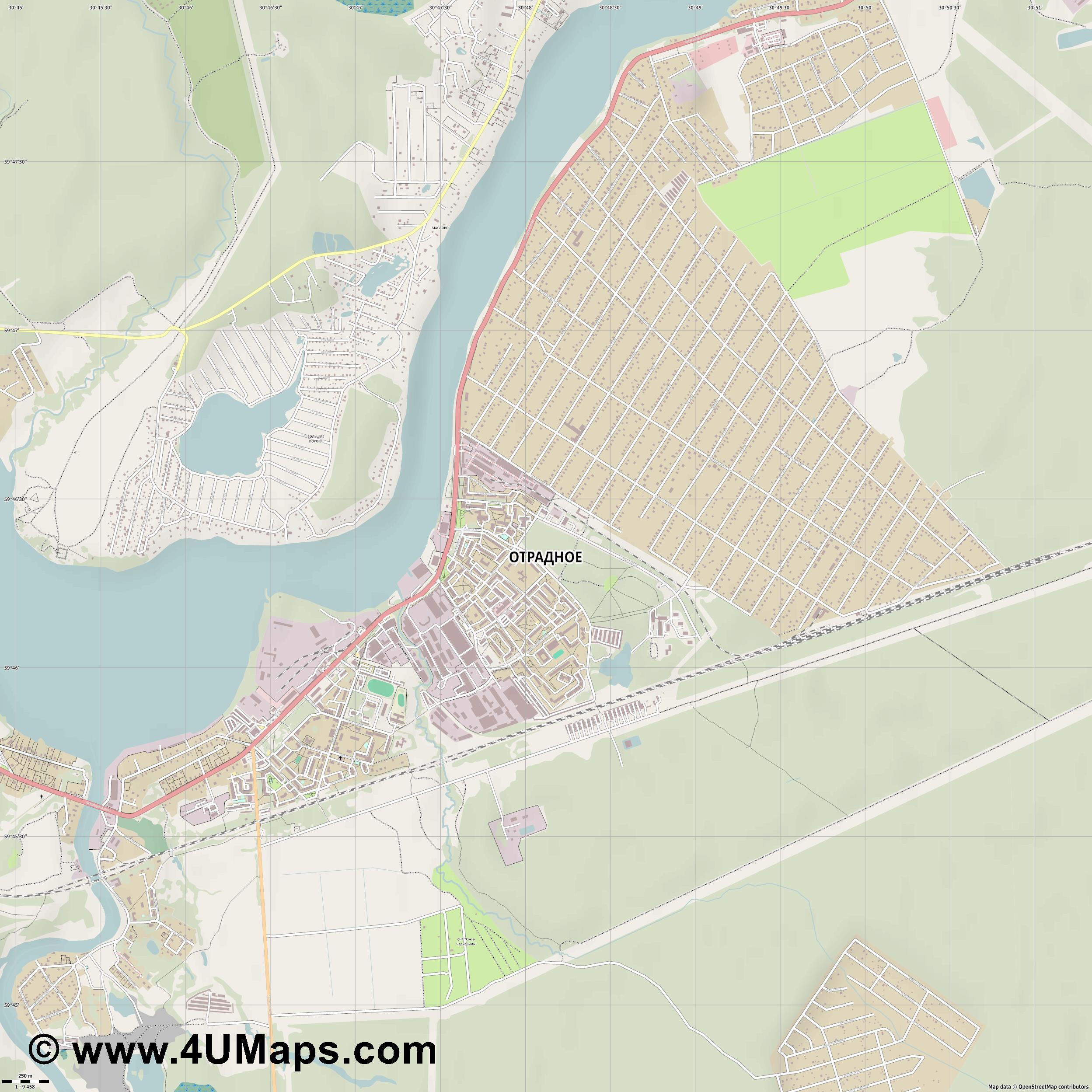 Отрадное Otradnoye Otradnoje  jpg ultra high detail preview vector city map