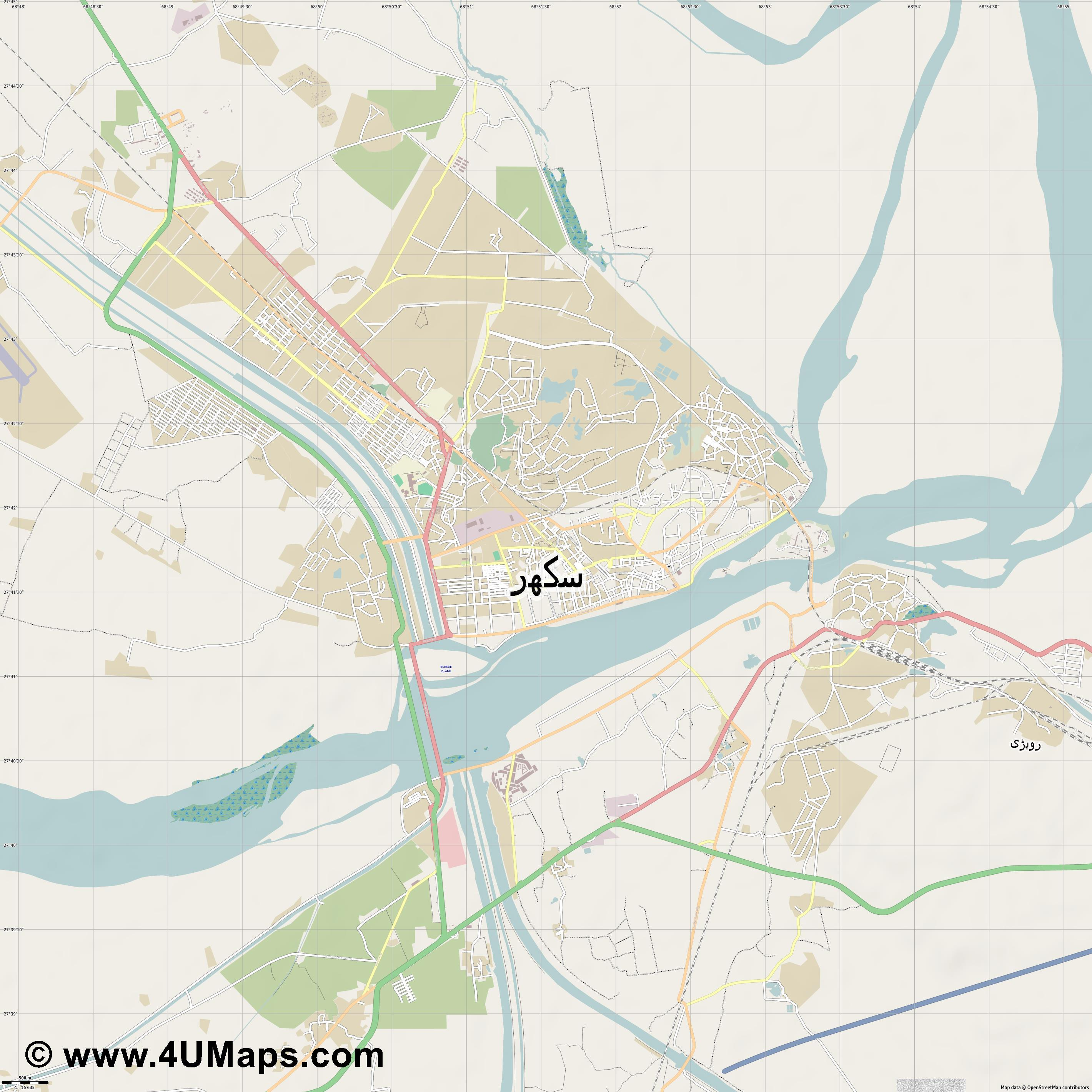 Sukkur  jpg ultra high detail preview vector city map