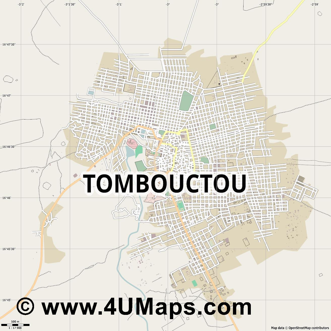 Tombouctou Timbuktu Tombuctú  jpg ultra high detail preview vector city map