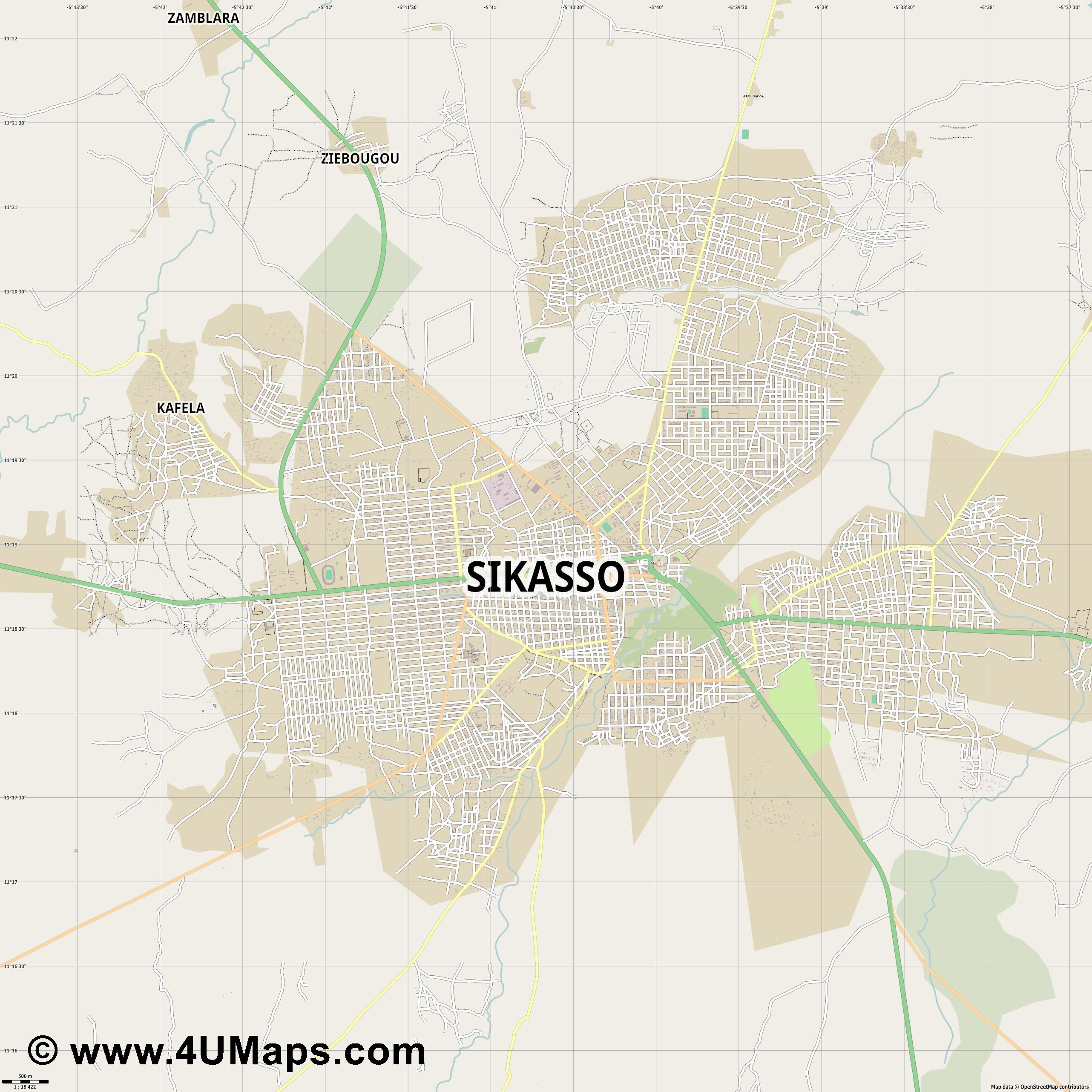 Sikasso  jpg ultra high detail preview vector city map