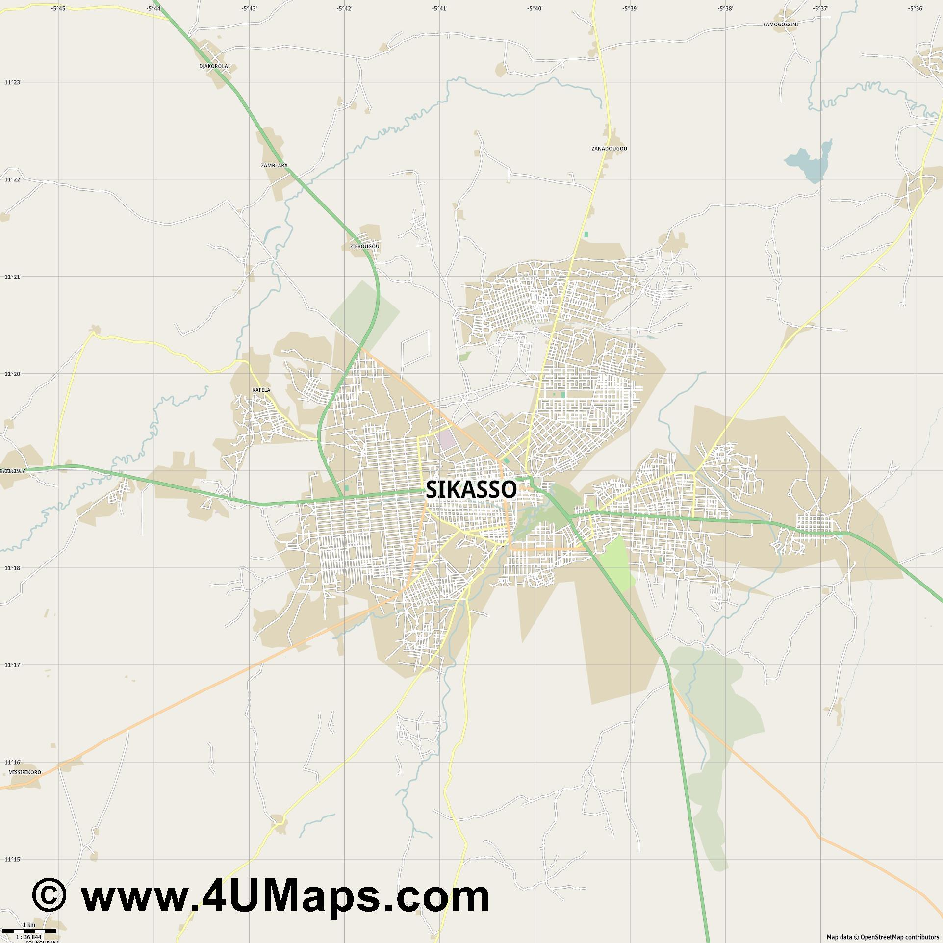 Sikasso  jpg high detail, large area preview vector city map