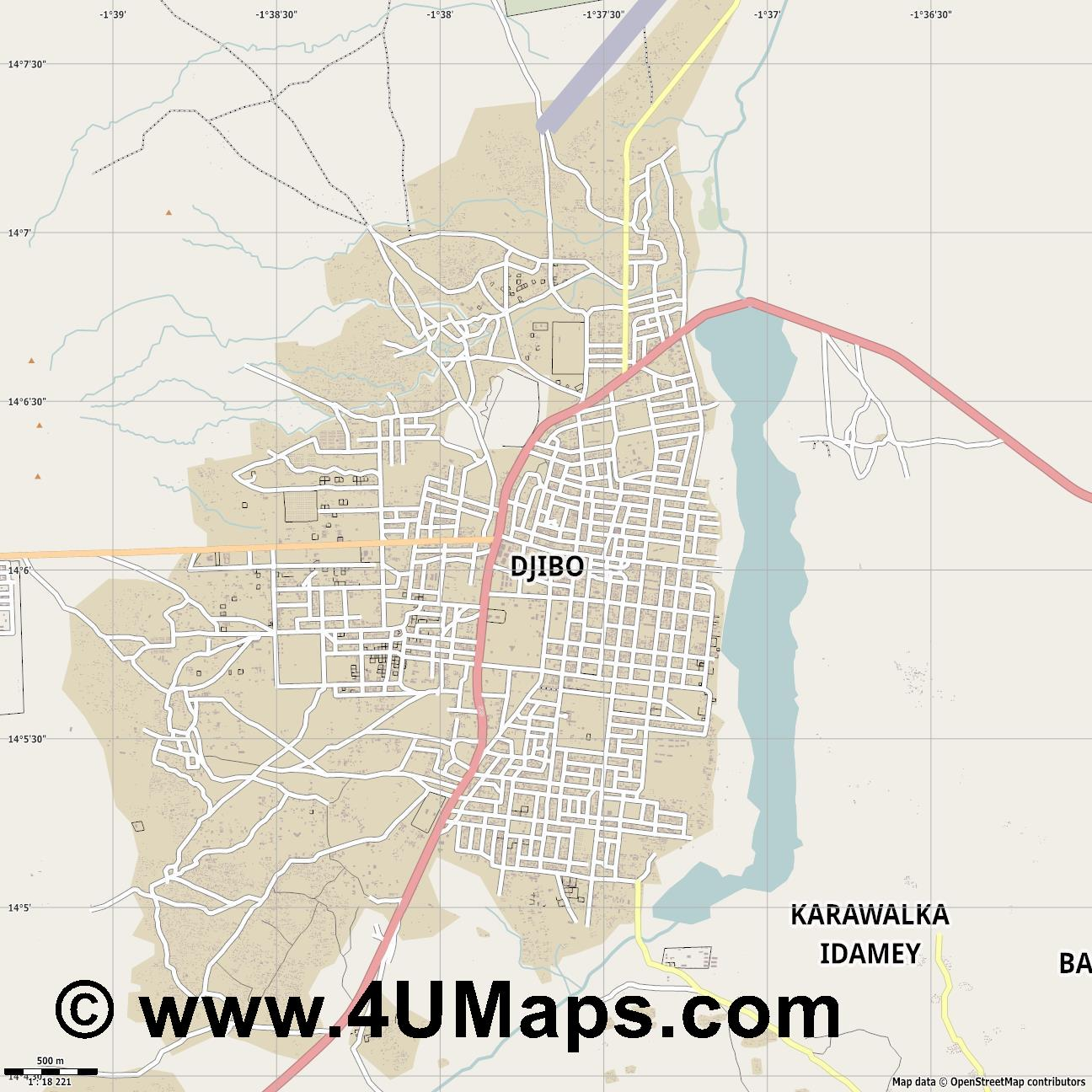 Djibo  jpg ultra high detail preview vector city map