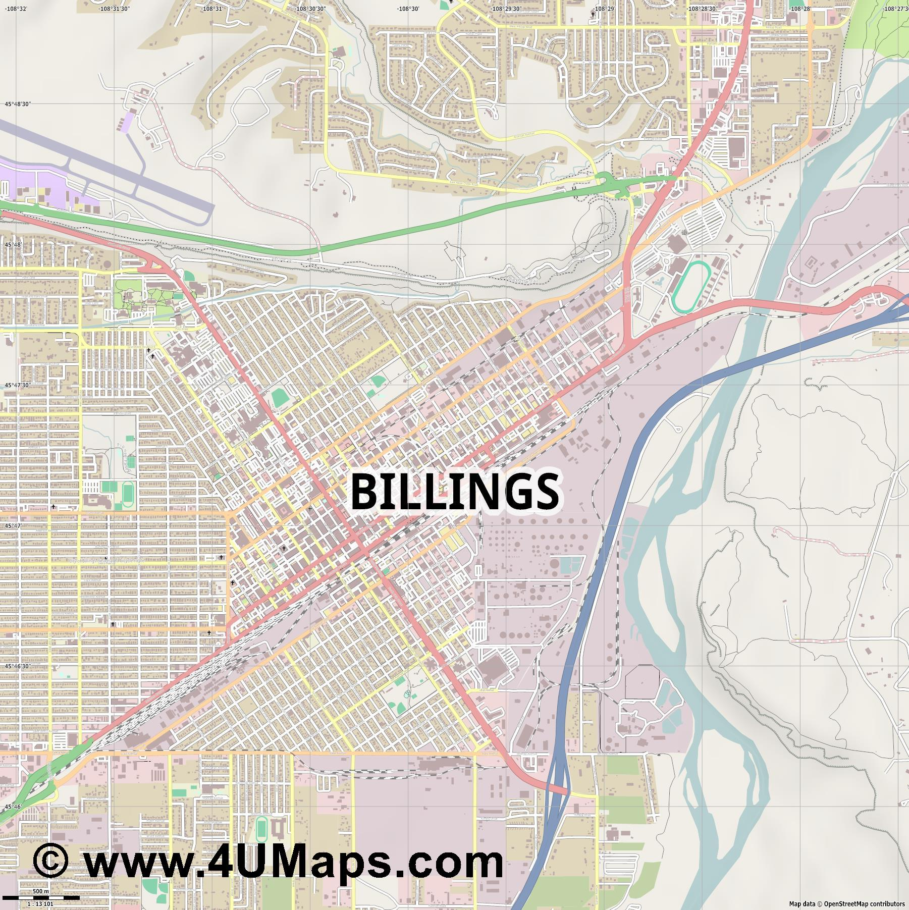 Billings  jpg ultra high detail preview vector city map