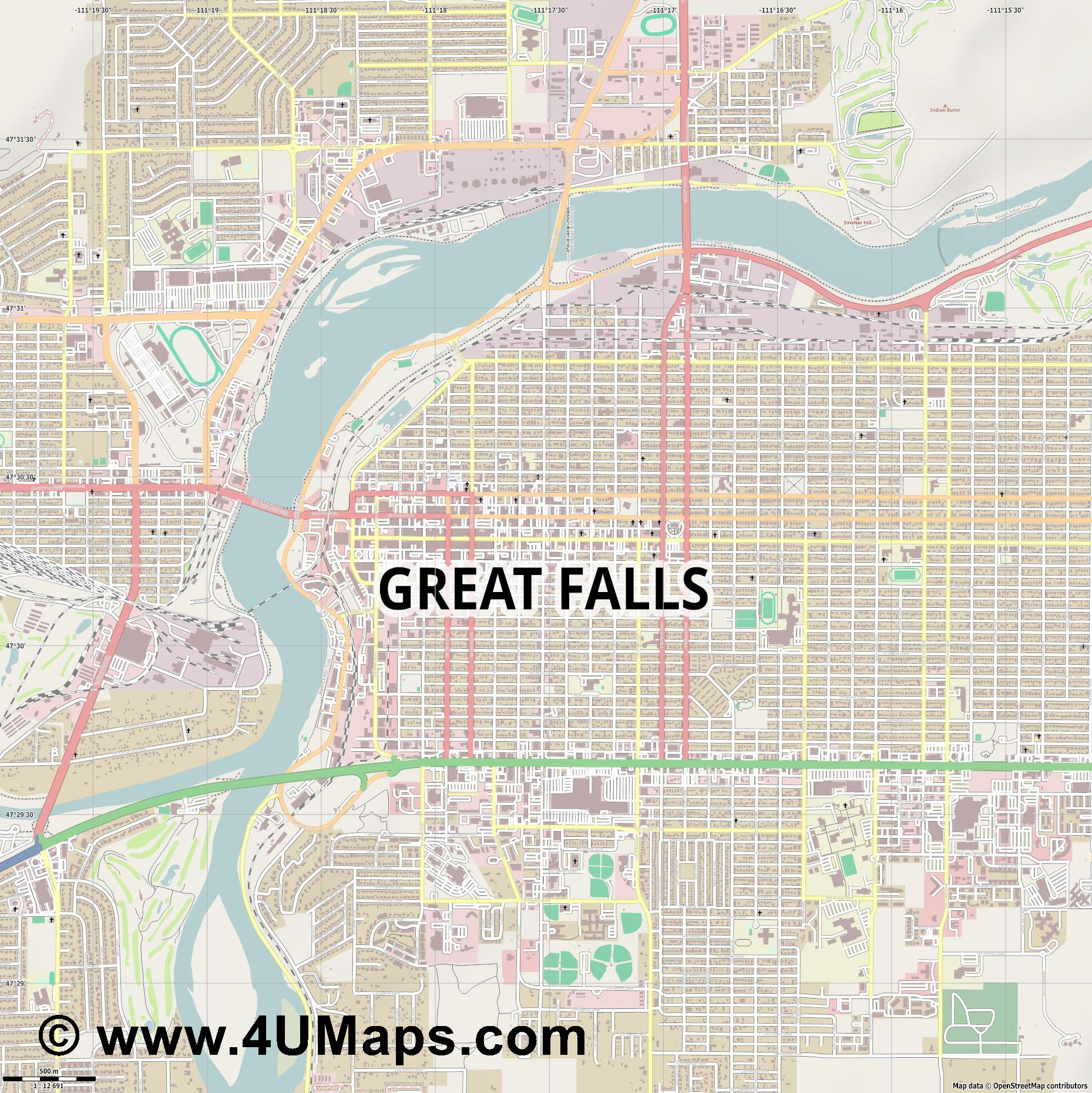 Great Falls  jpg ultra high detail preview vector city map