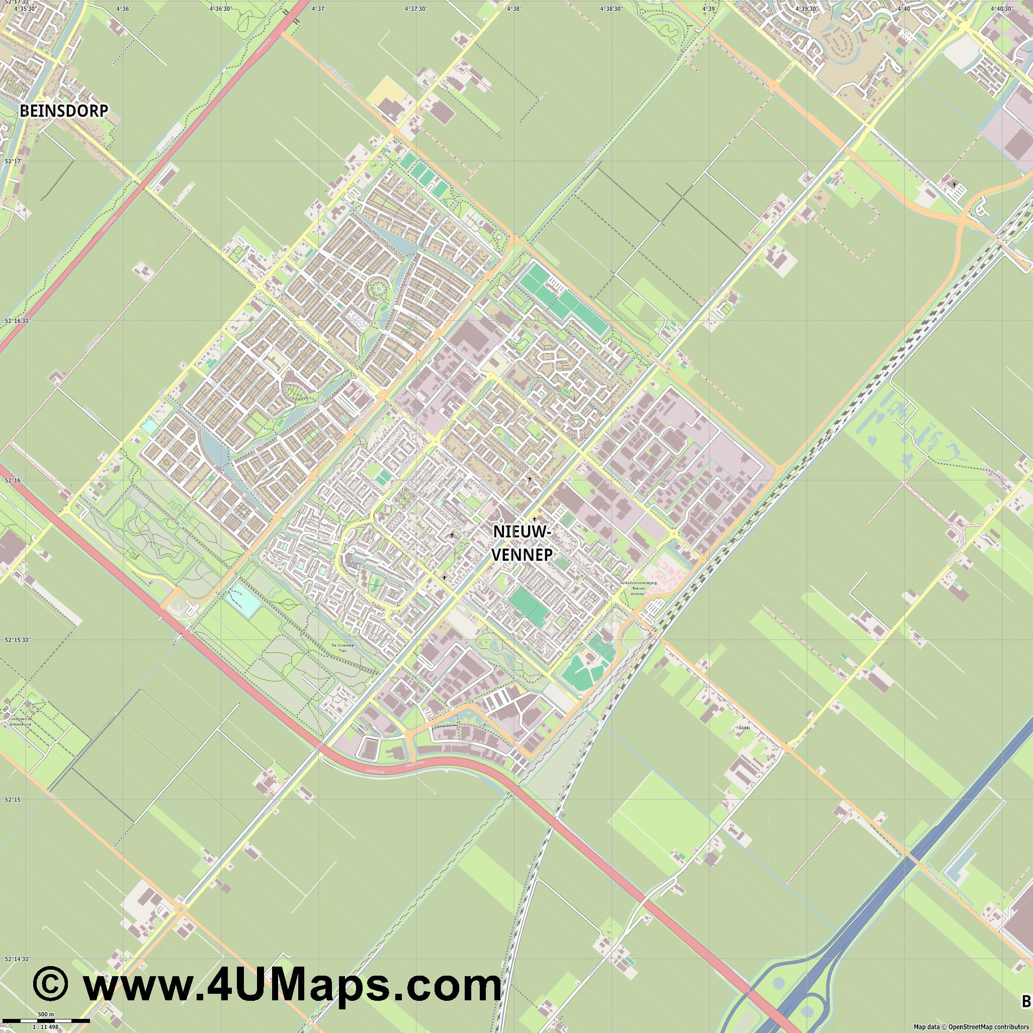 Nieuw Vennep  jpg ultra high detail preview vector city map