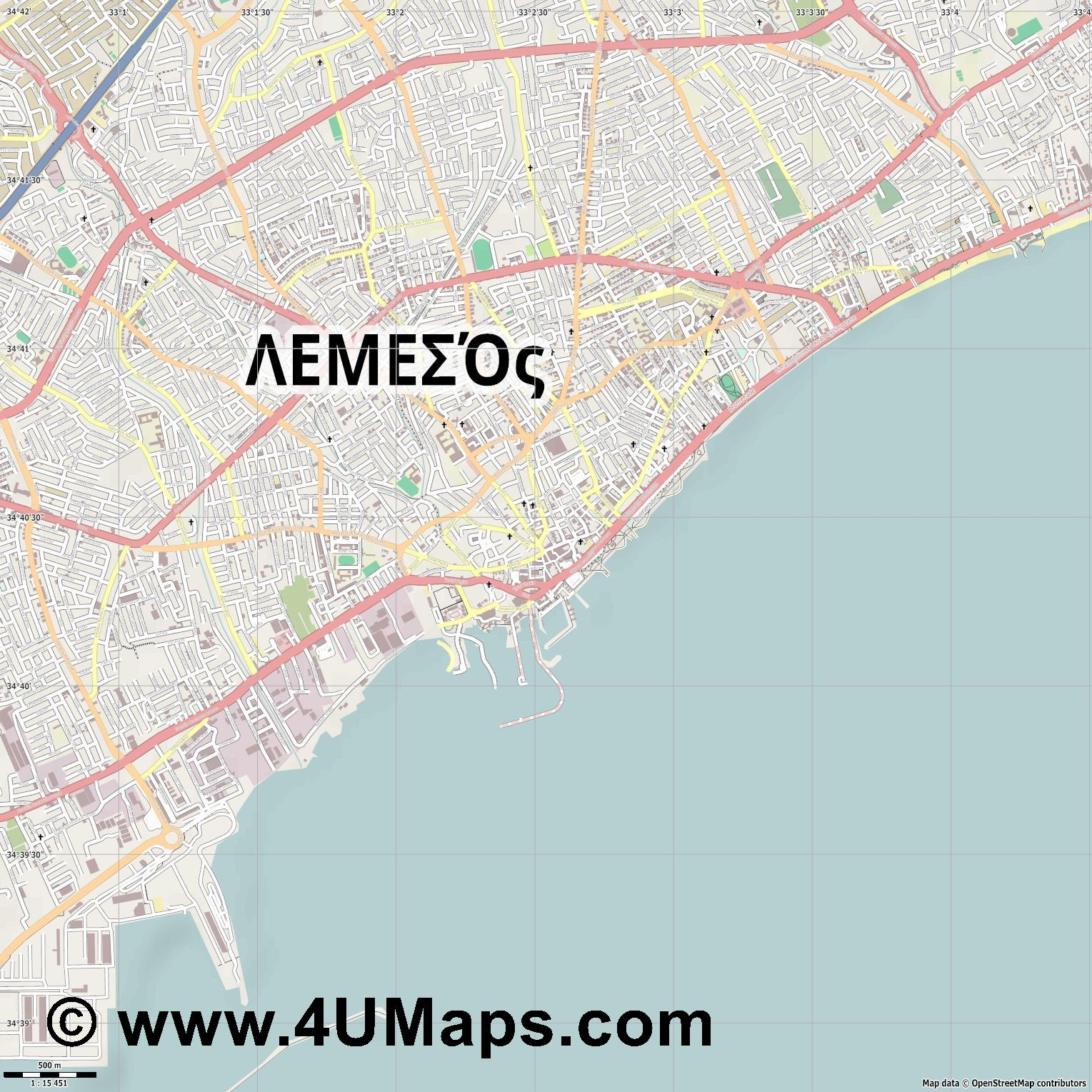 PDF Svg Scalable Vector City Map Limassol